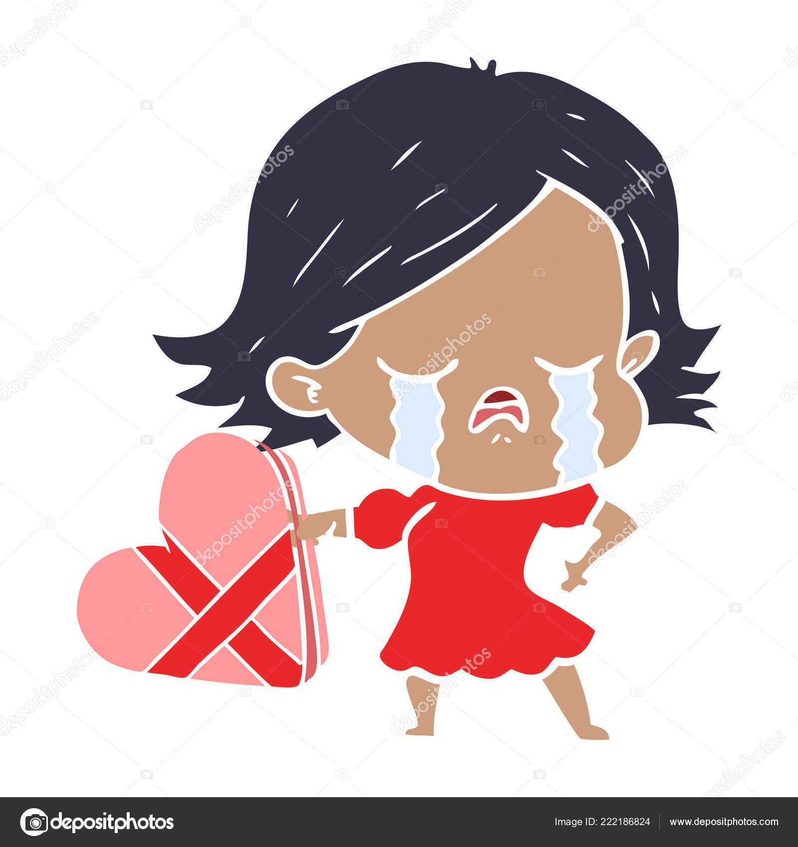 Fille Dessin Animé Style Plat Couleur Pleurer Sur Valentines