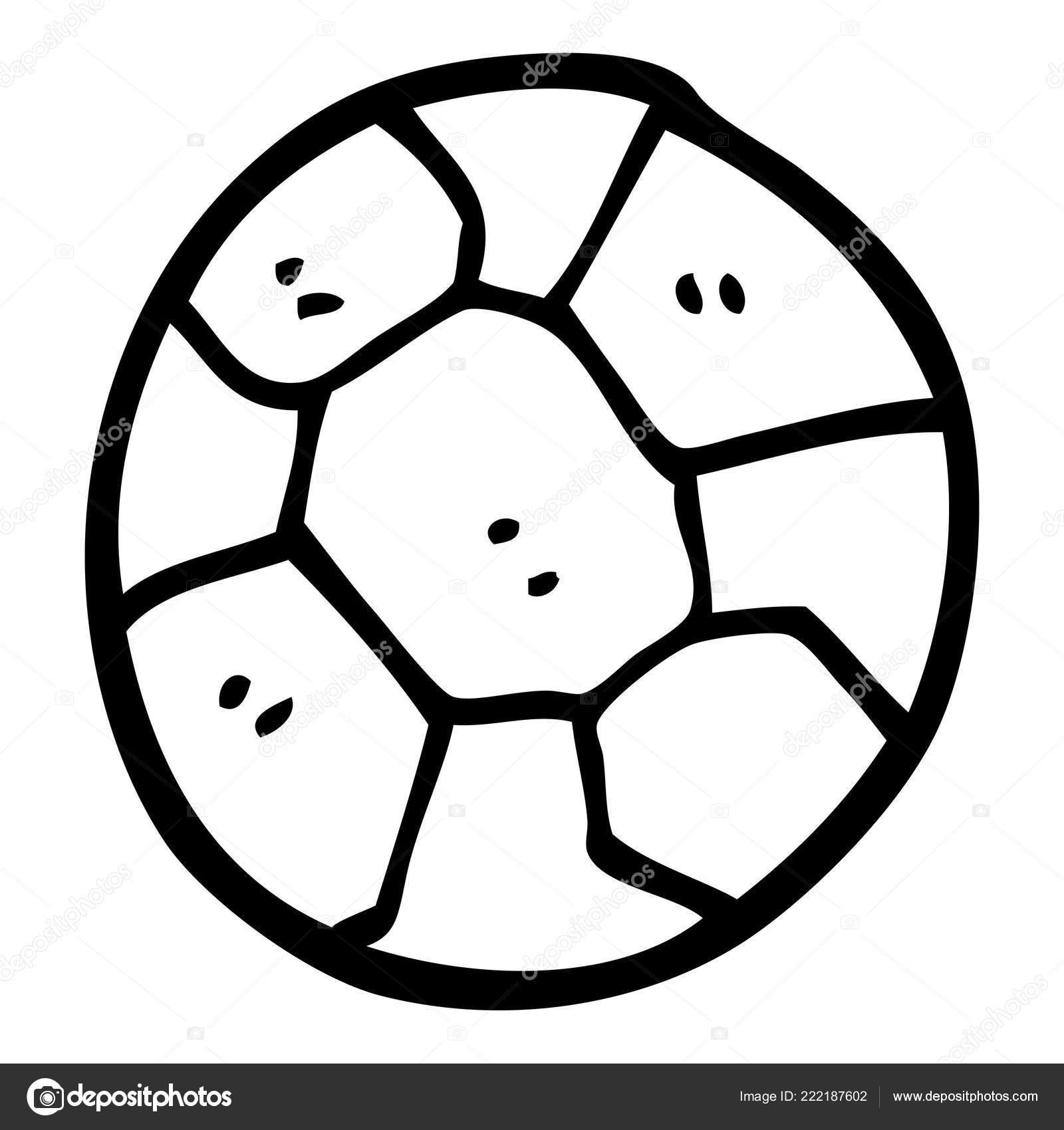 Ballon Football Noir Blanc Dessin Animé Image Vectorielle