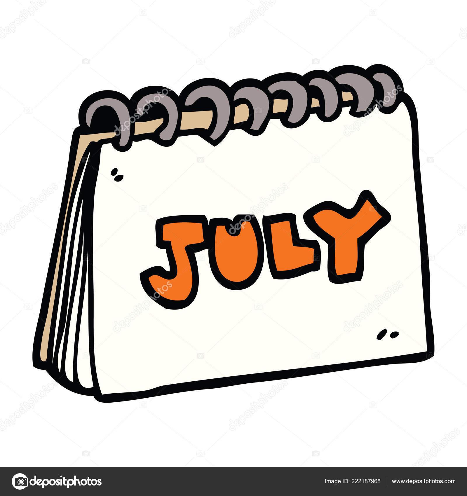 Calendario Doodle Desenho Animado Mostrando Mes Julho Vetores De