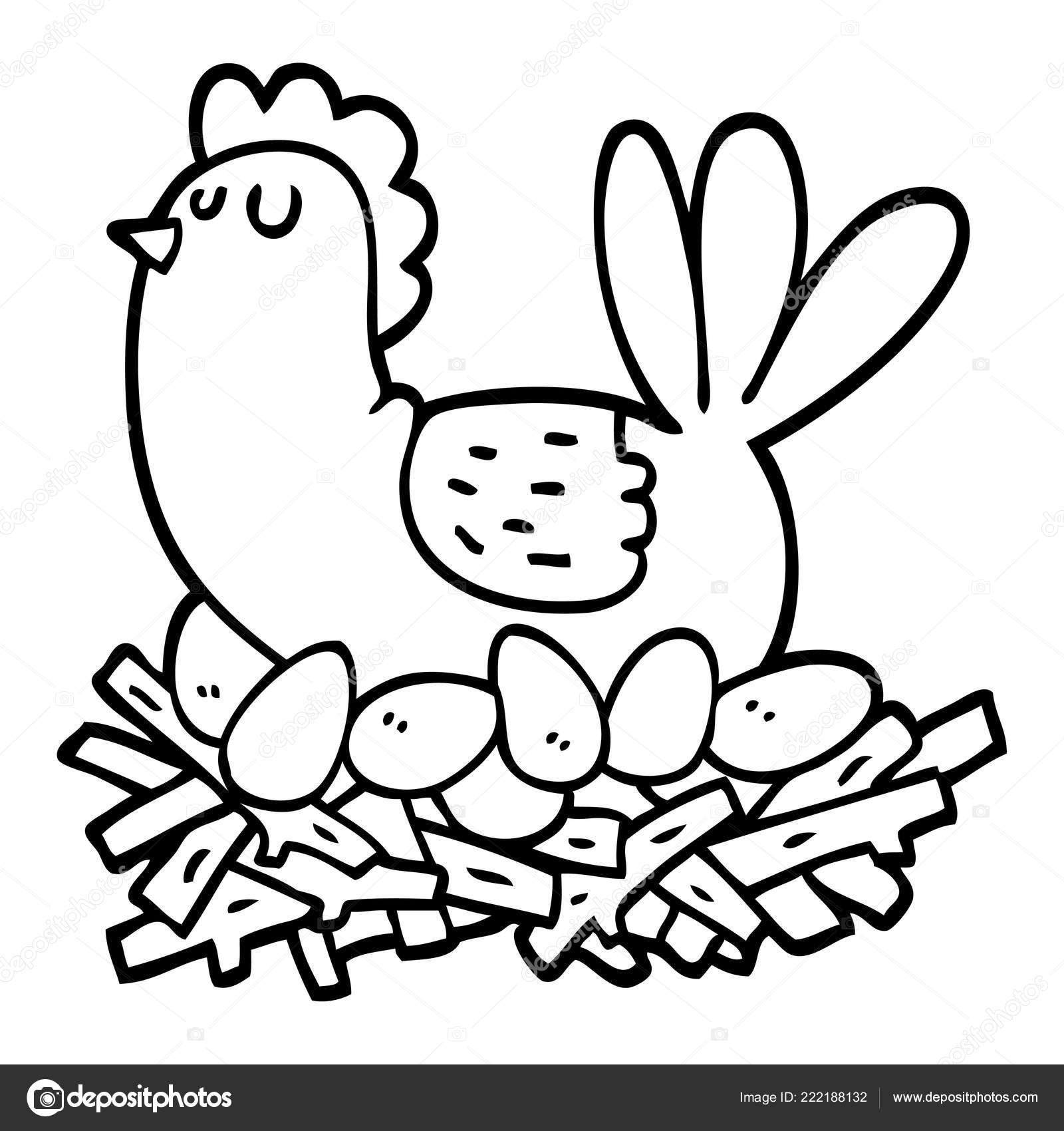 Pollo Dibujos Animados Blanco Negro Nido Huevos Archivo Imágenes