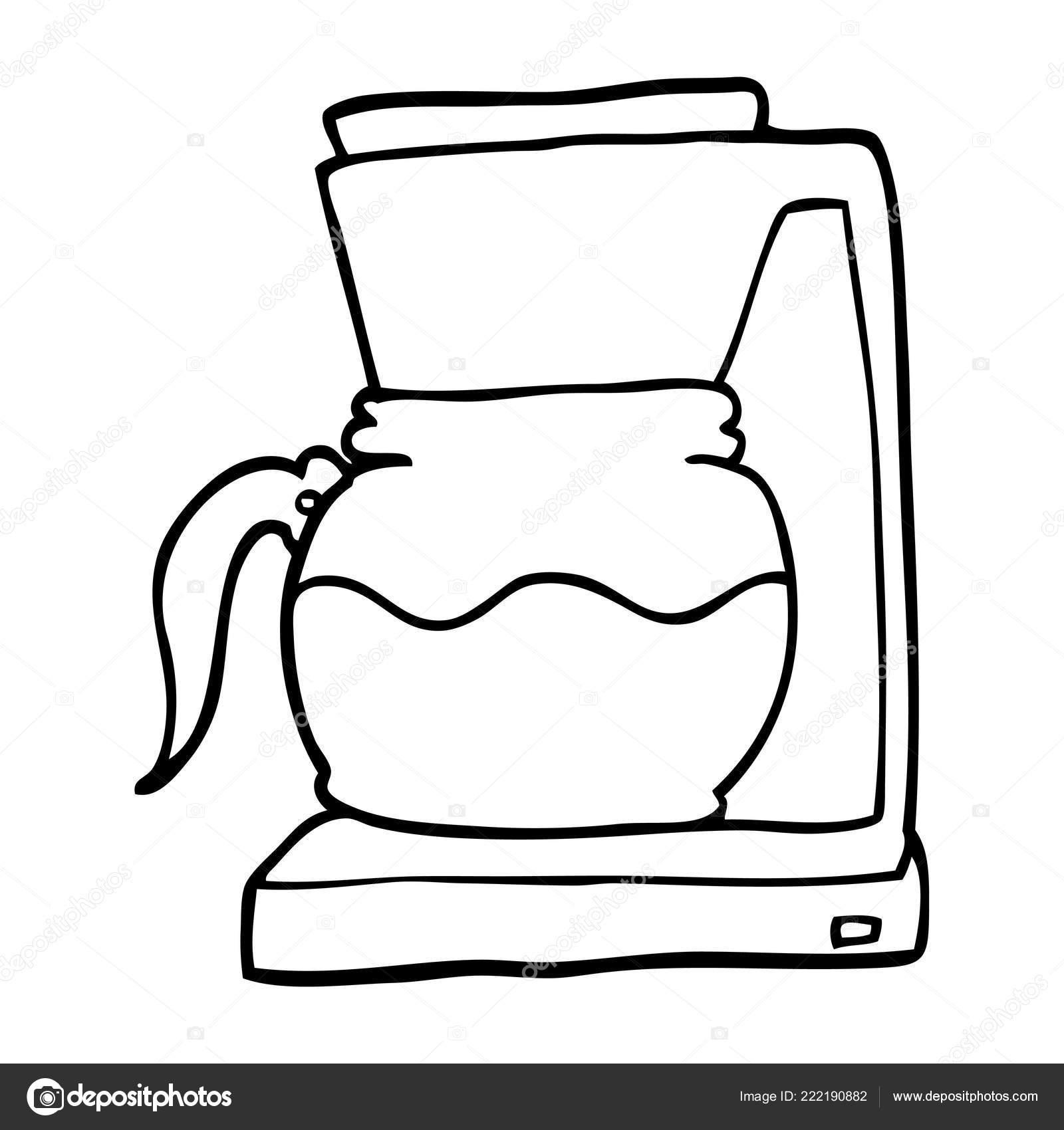 Maquina Filtro Cafe Dos Desenhos Animados Desenho Linha Vetores