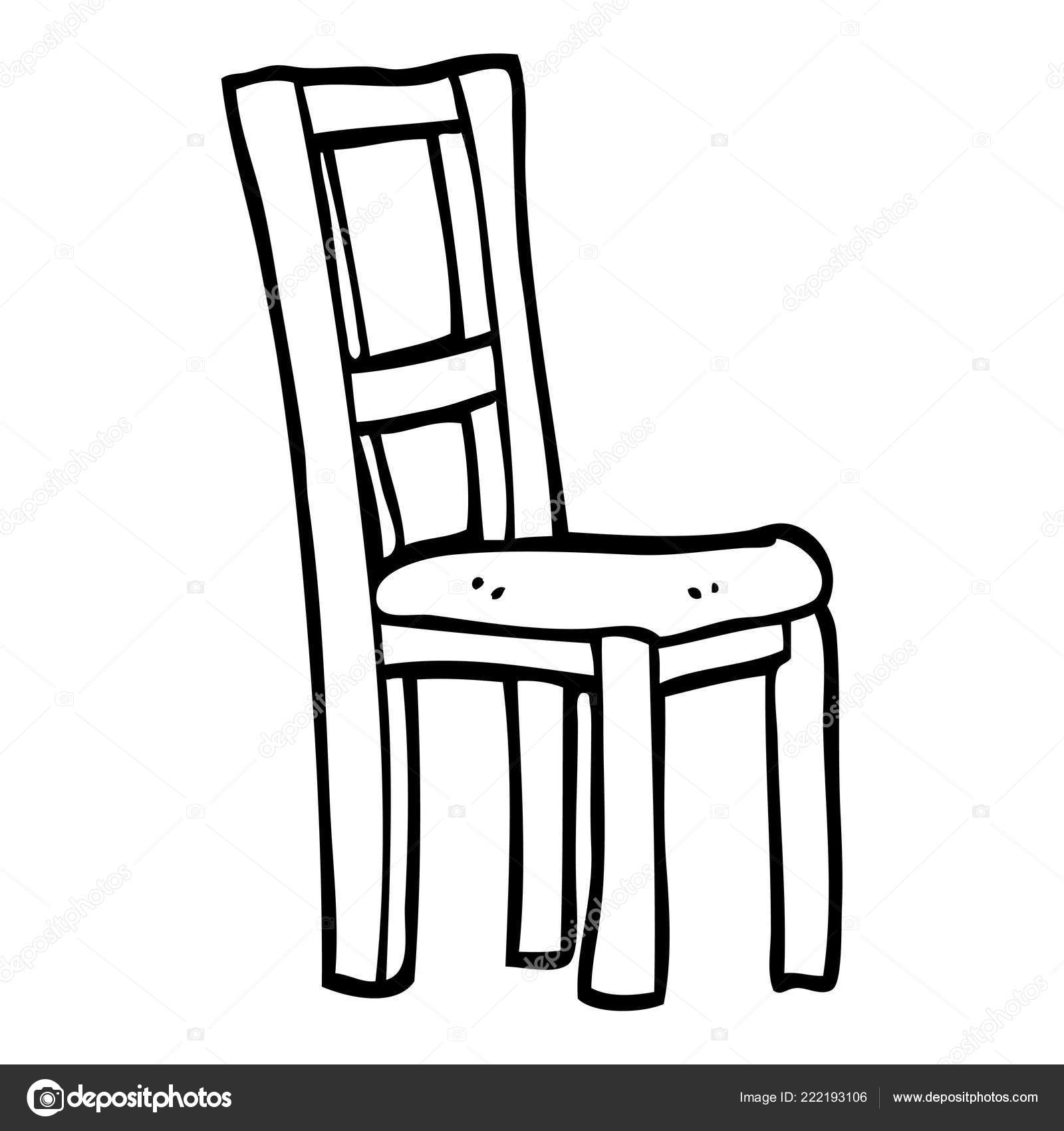 Black White Cartoon Wooden Chair Stock Vector C Lineartestpilot 222193106