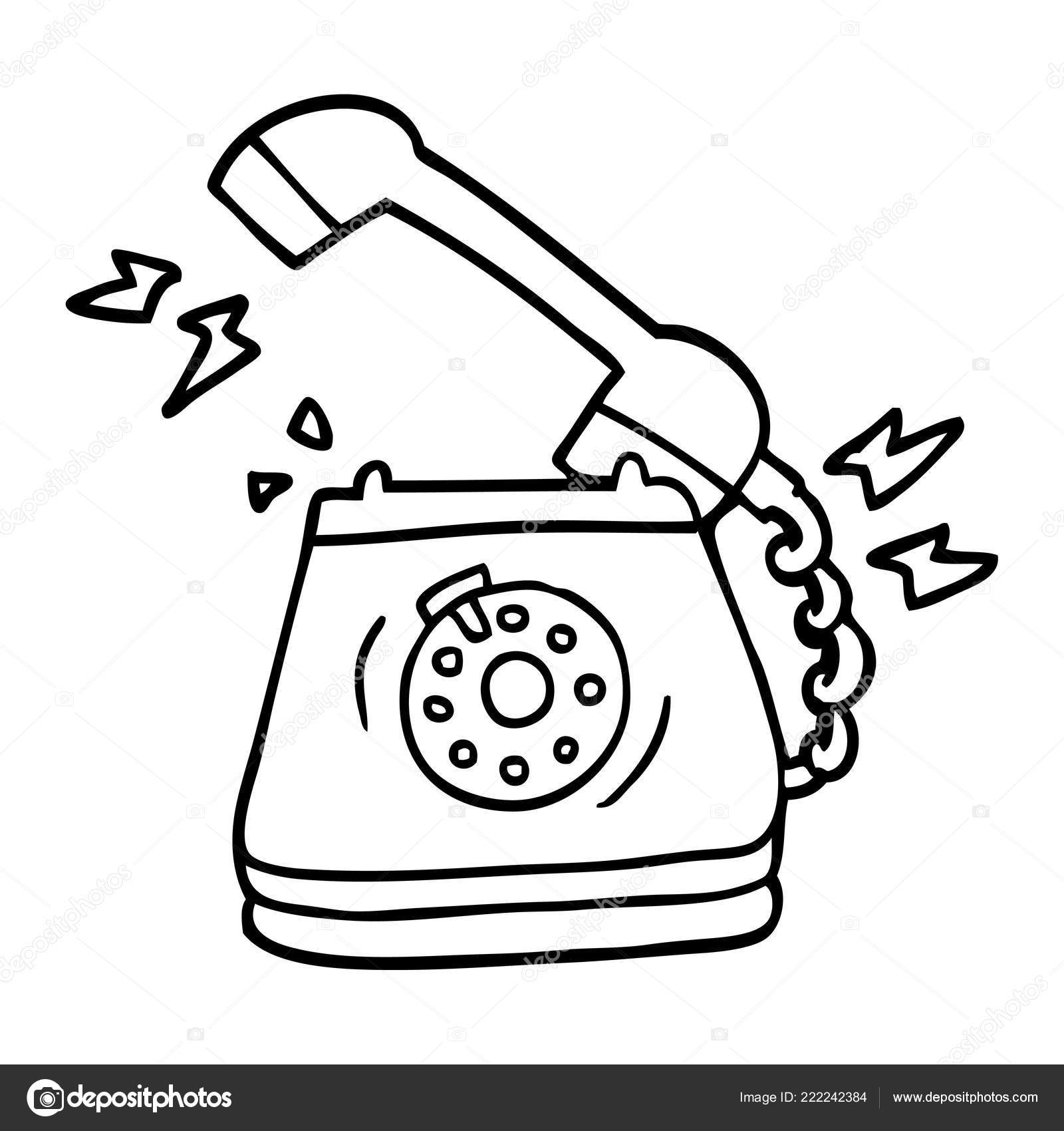 Old telephone drawing | Line Drawing Cartoon Old Rotary Dial