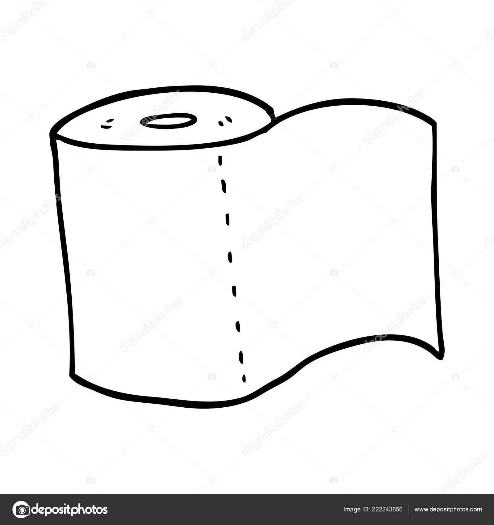 Line Drawing Cartoon Toilet Roll Stock Vector C Lineartestpilot 222243656