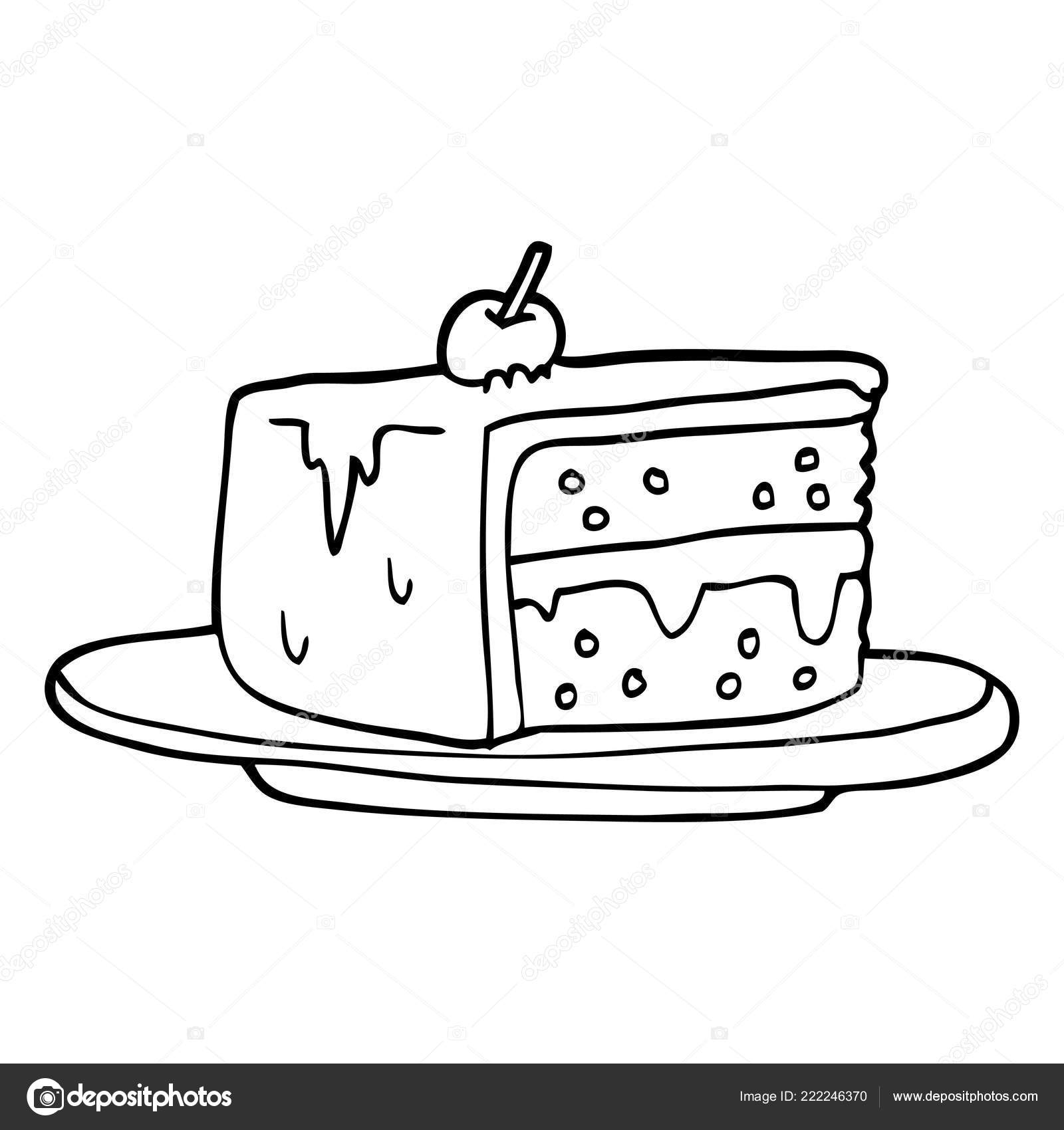 Line Drawing Cartoon Slice Cake — Stock Vector ...