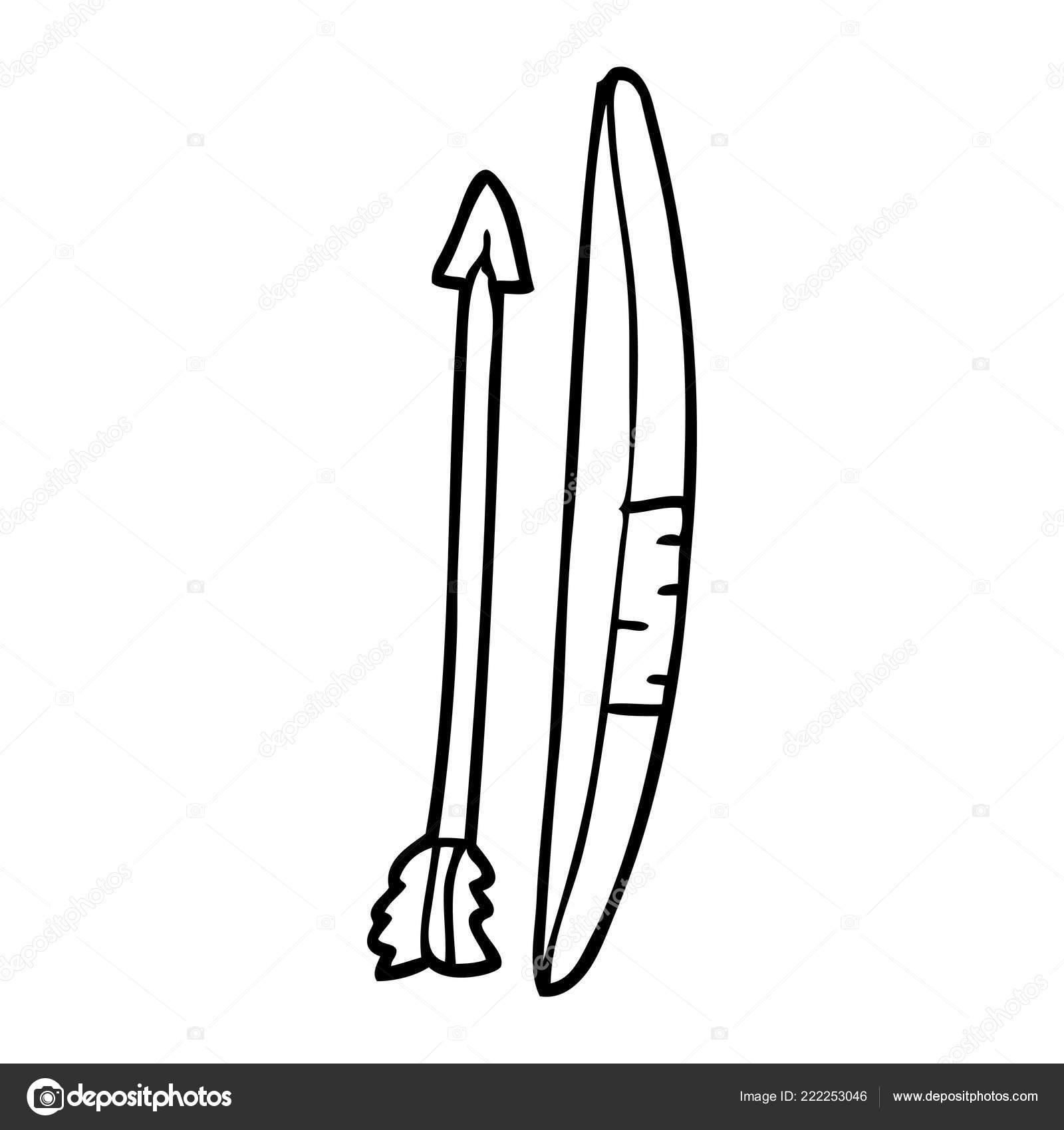 Line Drawing Cartoon Bow Arrow Stock Vector C Lineartestpilot