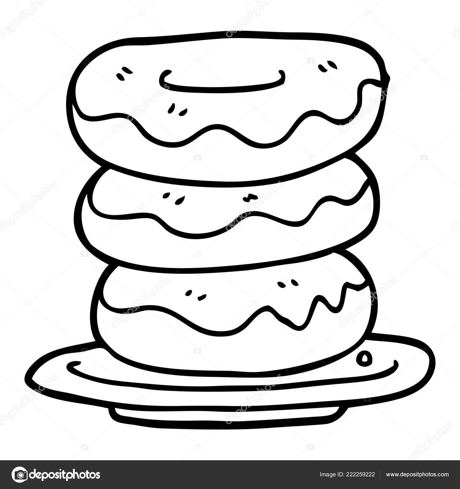 Line Drawing Cartoon Plate Donuts Stock Vector C Lineartestpilot