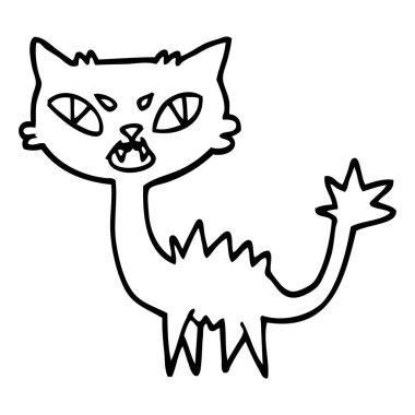 black and white cartoon halloween black cat