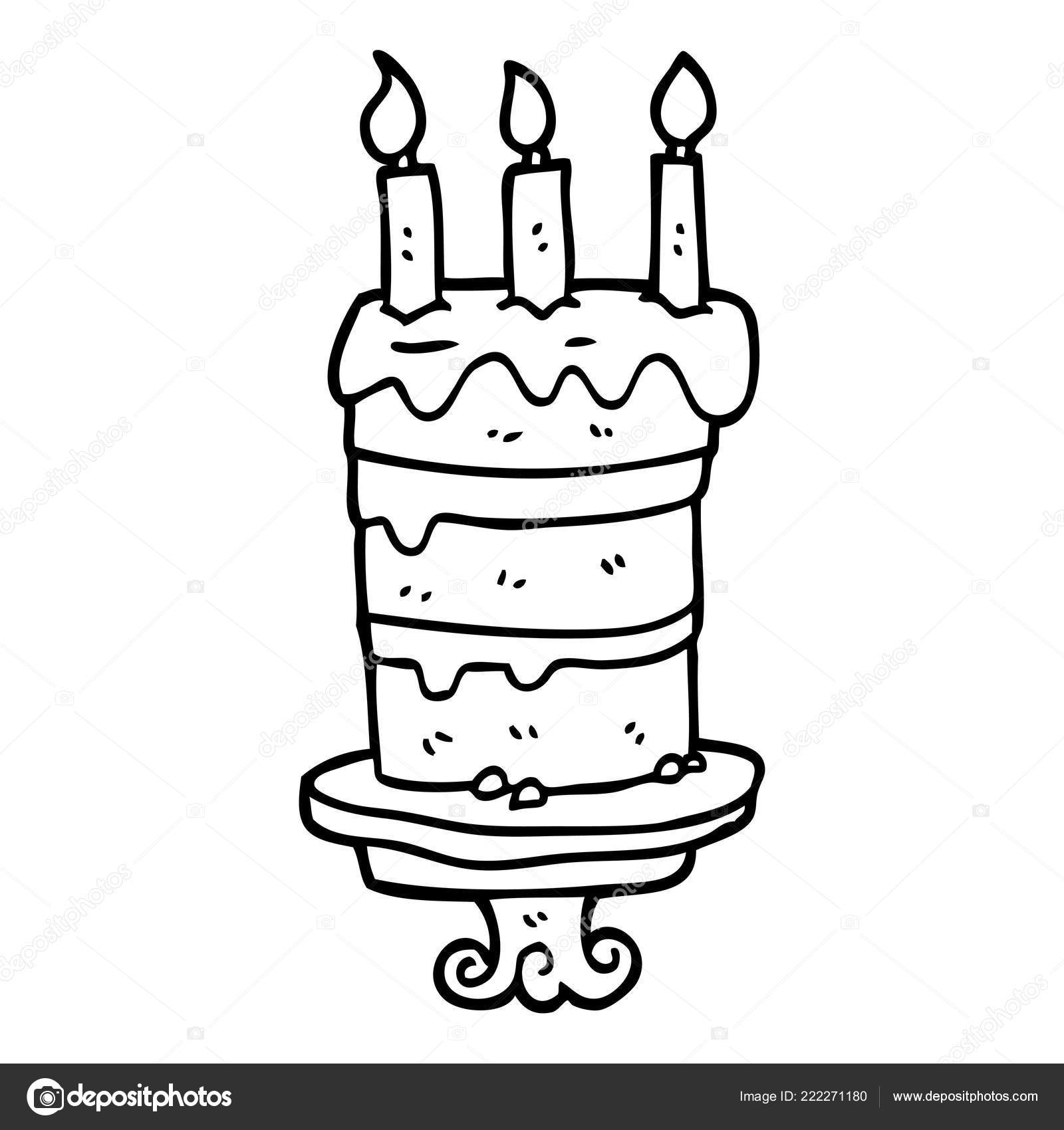 Swell Drawing Of A Cake Line Drawing Cartoon Birthday Cake Stock Funny Birthday Cards Online Alyptdamsfinfo