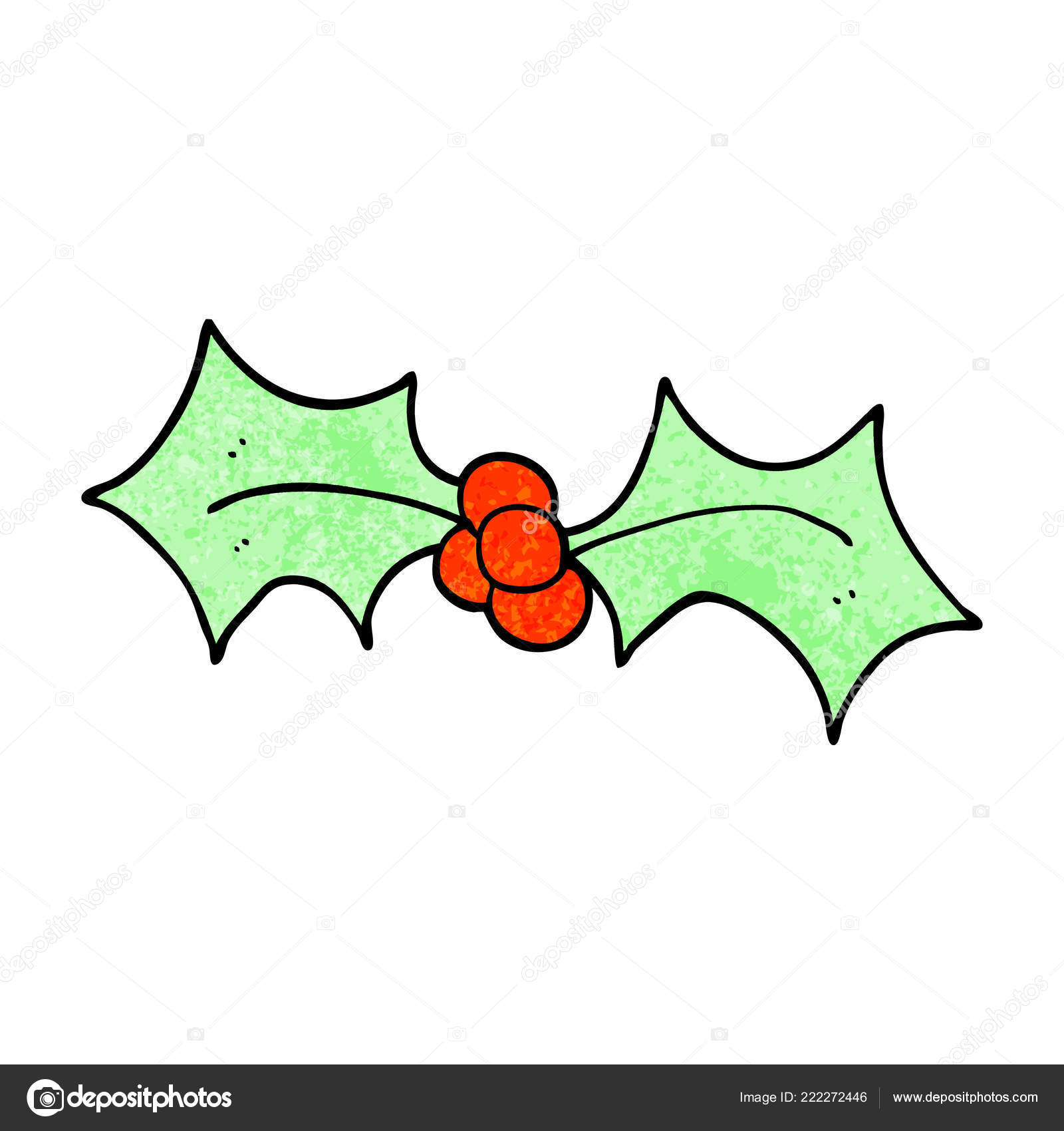 Christmas Holly Cartoon.Cartoon Doodle Christmas Holly Stock Vector