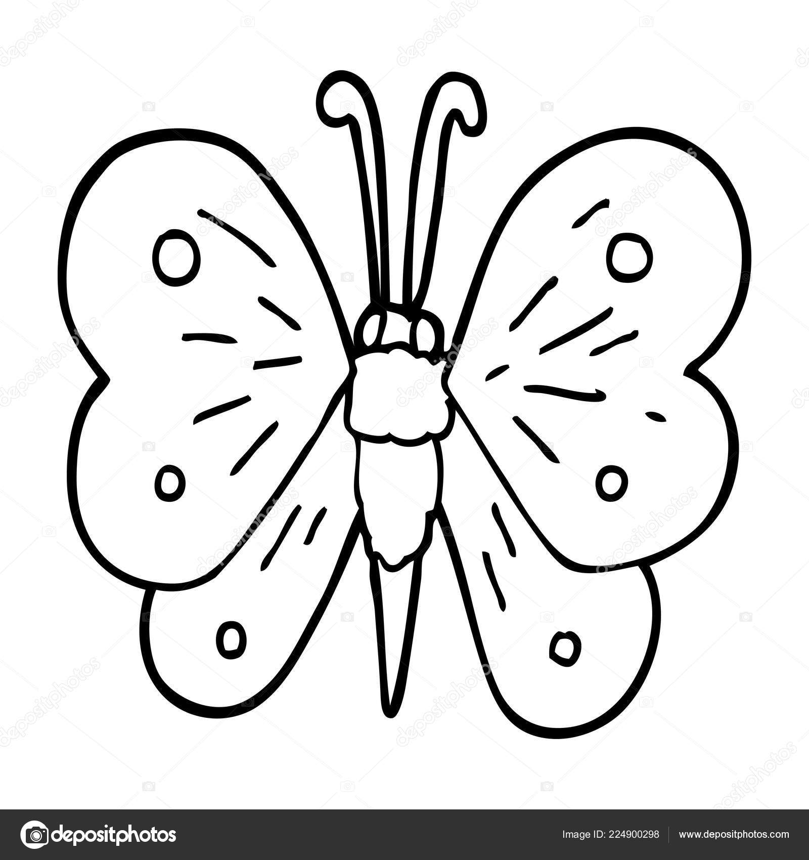 Line drawing cartoon butterfly stock vector