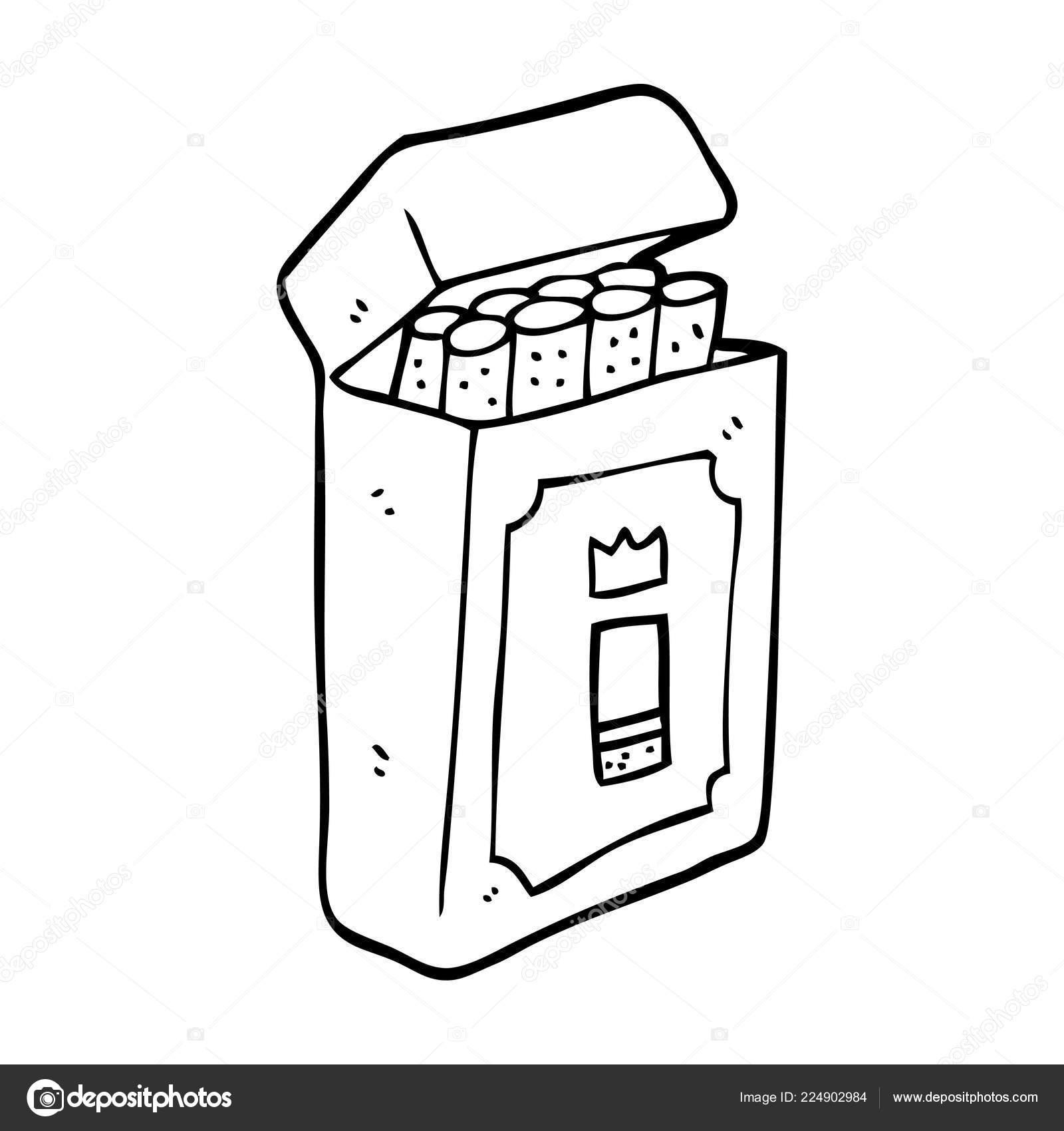 Pack Cartoon Disegno Tratteggio Delle Sigarette Vettoriali Stock