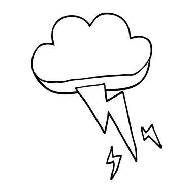 line drawing cartoon thundercloud and lightning