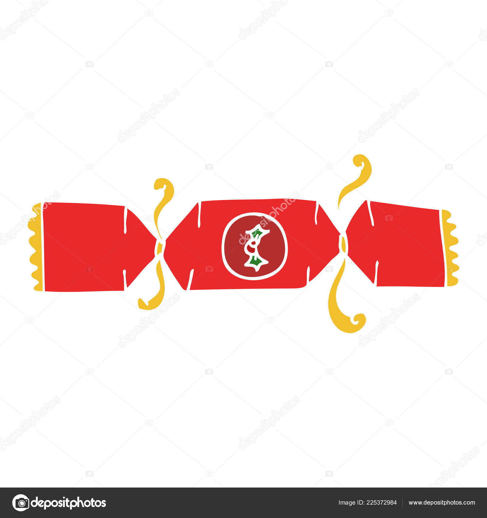 Christmas Cracker Vector.Cartoon Doodle Christmas Cracker Stock Vector