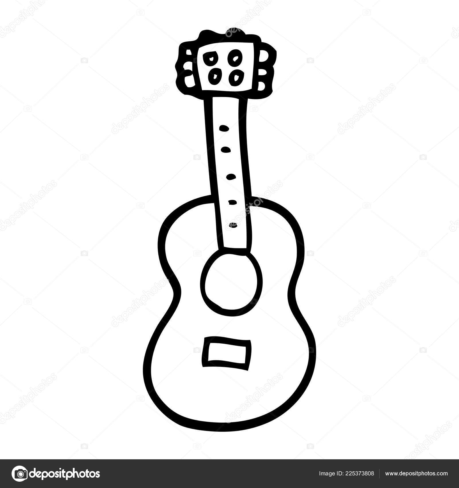 Cartoon Guitar Drawing Line Drawing Cartoon Guitar Stock Vector C Lineartestpilot 225373808