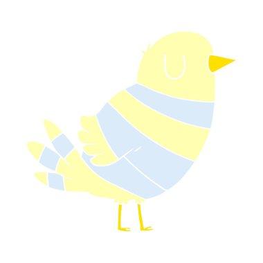 flat color style cartoon bird