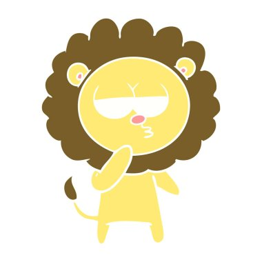 flat color style cartoon tired lion
