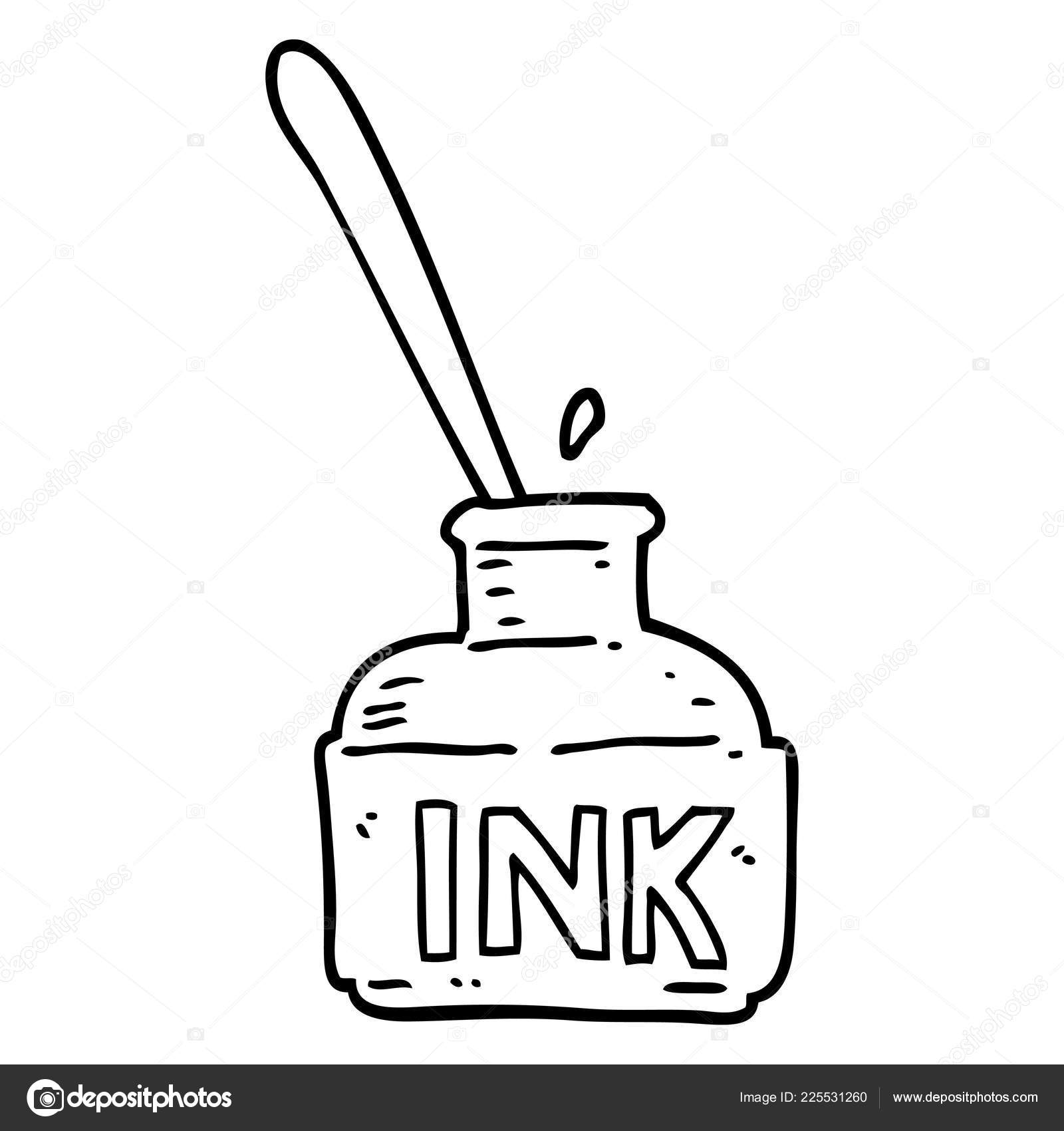 How To Draw Cartoon Ink Bottle Line Drawing Cartoon Ink Bottle Stock Vector C Lineartestpilot 225531260