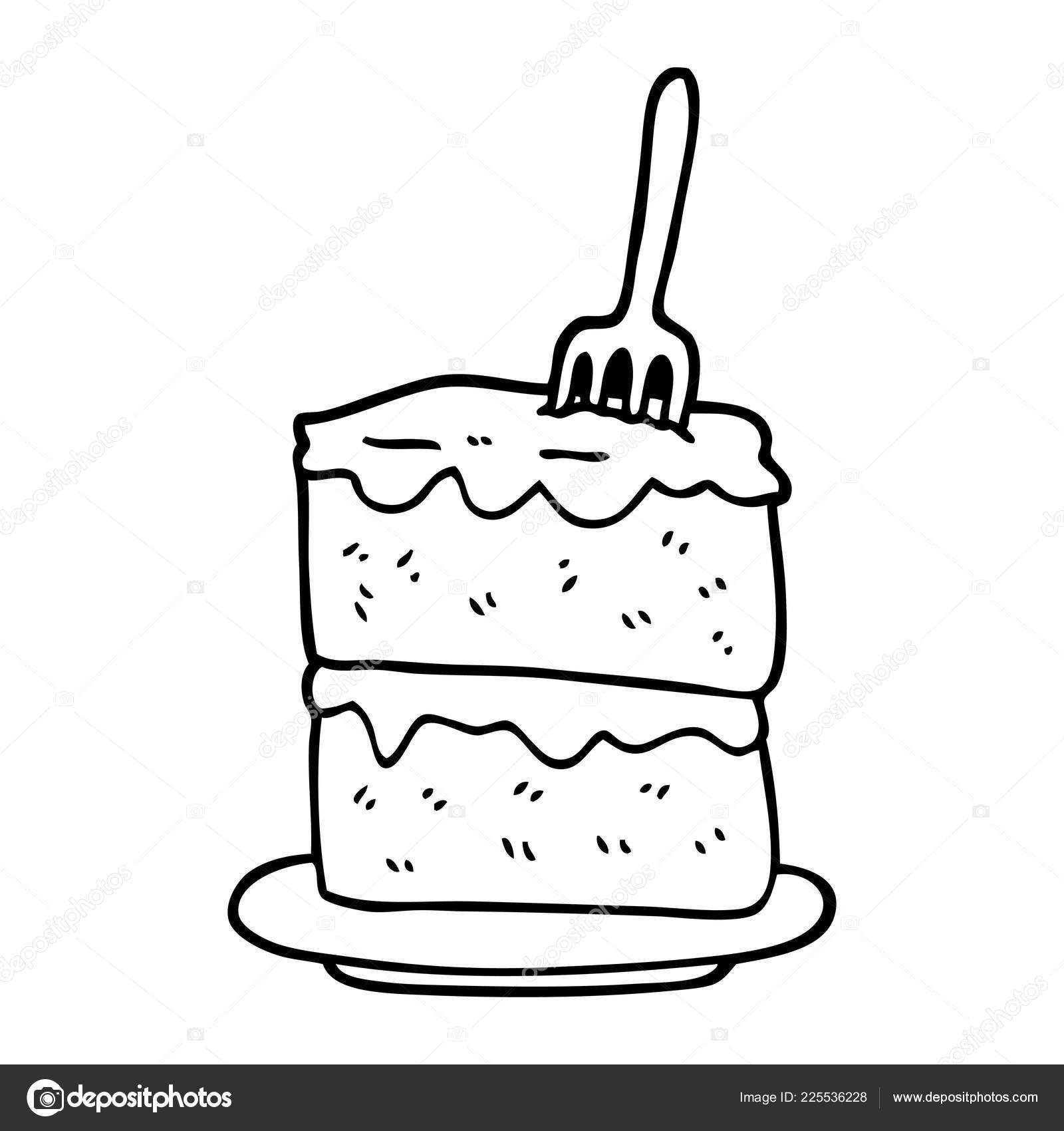 Schwarze Und Weisse Cartoon Stuck Kuchen Stockvektor
