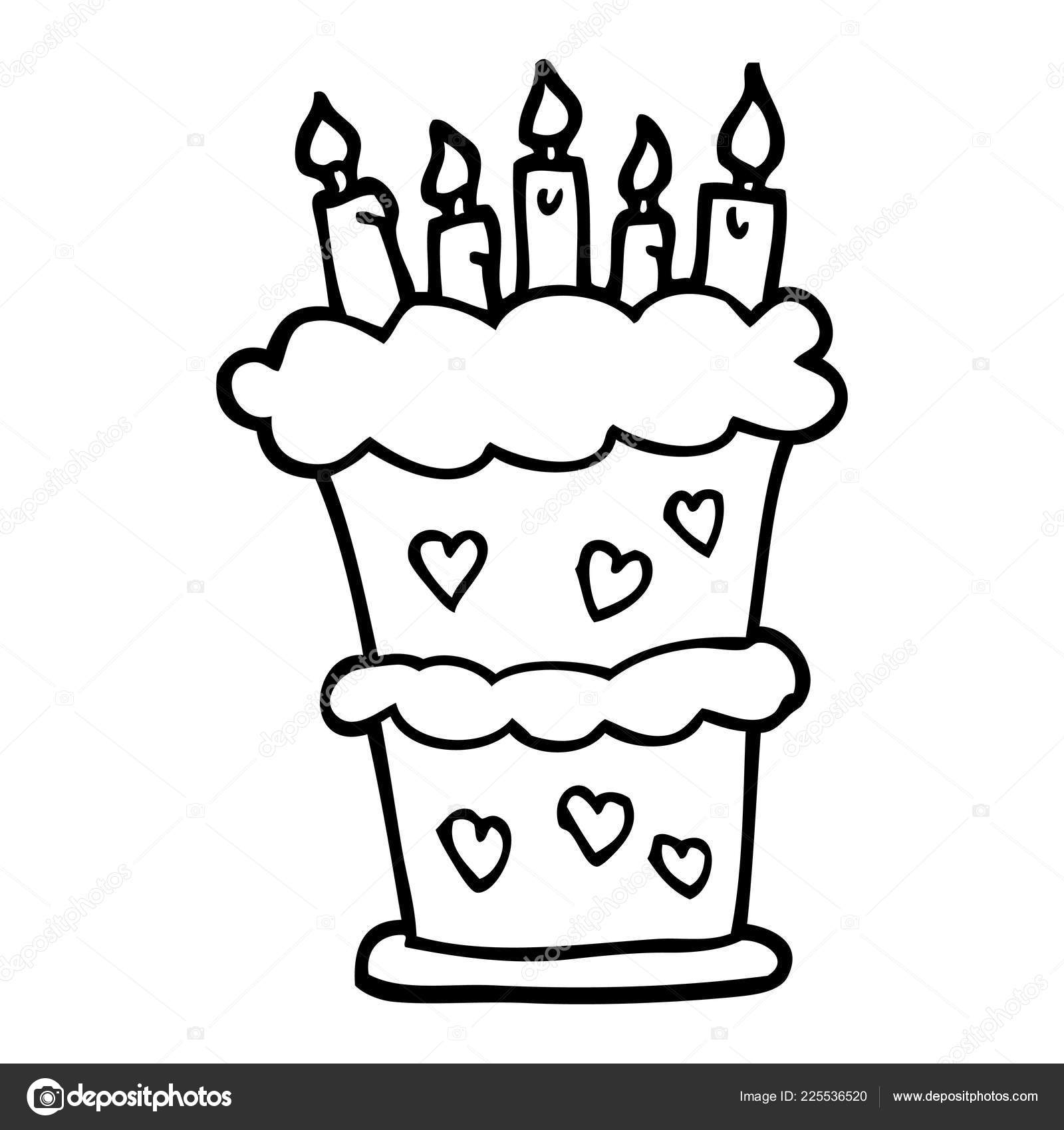 Black White Cartoon Birthday Cake Stock Vector C Lineartestpilot
