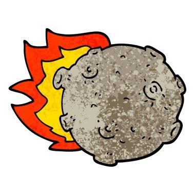 grunge textured illustration cartoon asteroid