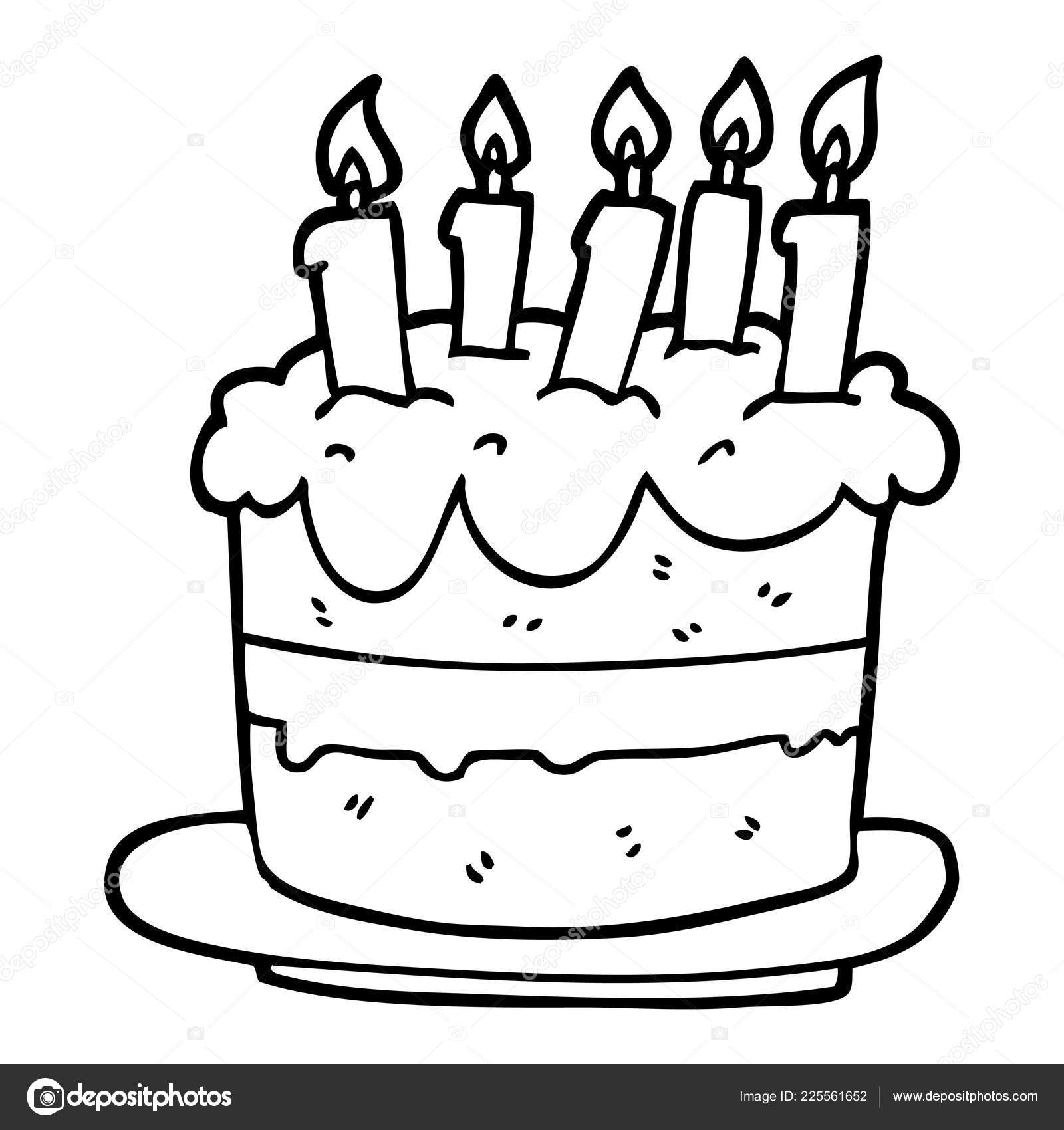 Brilliant Line Drawing Cartoon Birthday Cake Stock Vector Personalised Birthday Cards Vishlily Jamesorg