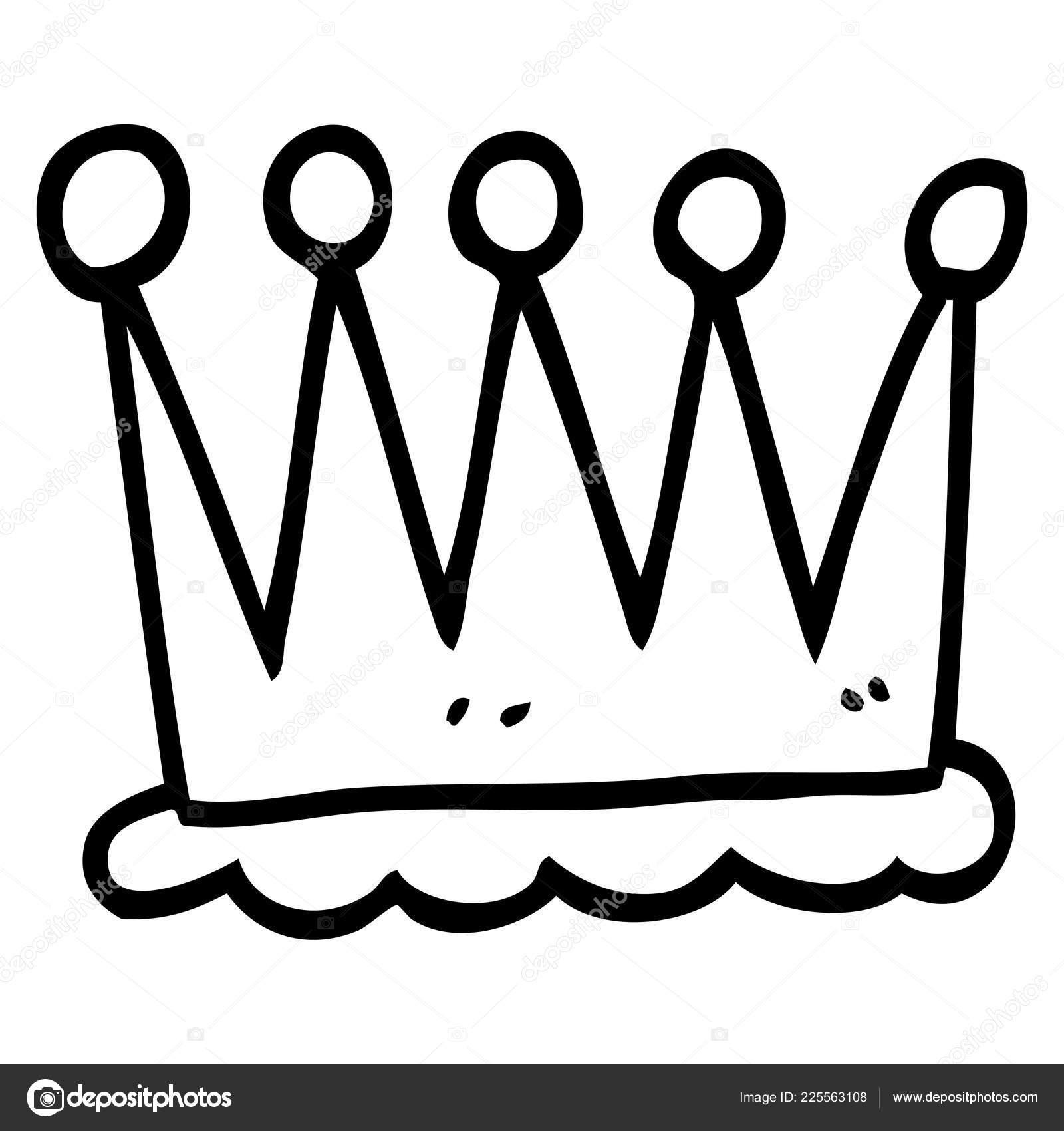 Simple King Crown Drawing Simple Line Drawing Cartoon