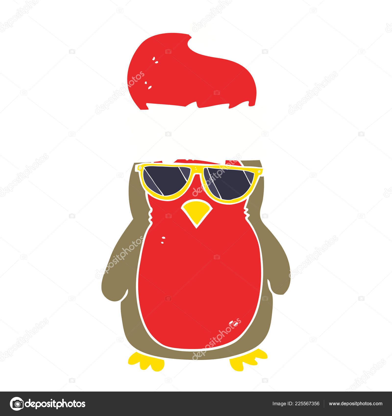 Cool Christmas.Flat Color Illustration Cool Christmas Robin Stock Vector