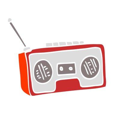 flat color illustration cartoon radio player