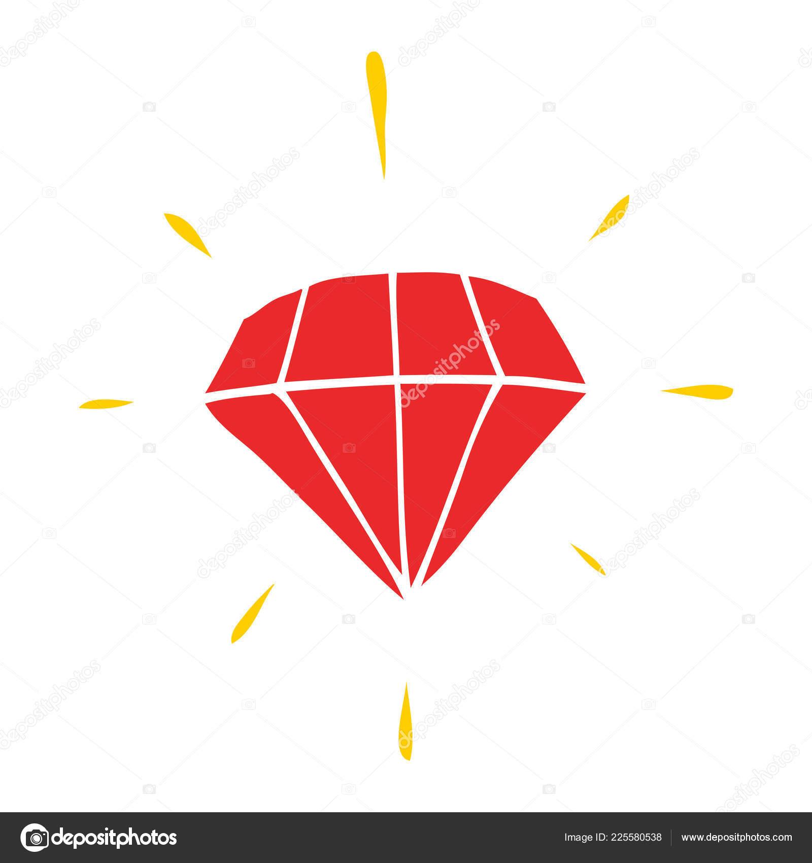 Diamante Tatuagem Cor Plana Estilo Dos Desenhos Animados Vetores