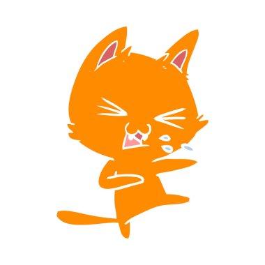 """Картина, постер, плакат, фотообои """"Плоский цвет стиль мультфильм cat шипение"""", артикул 225582694"""