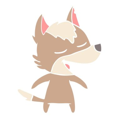 flat color style cartoon wolf laughing