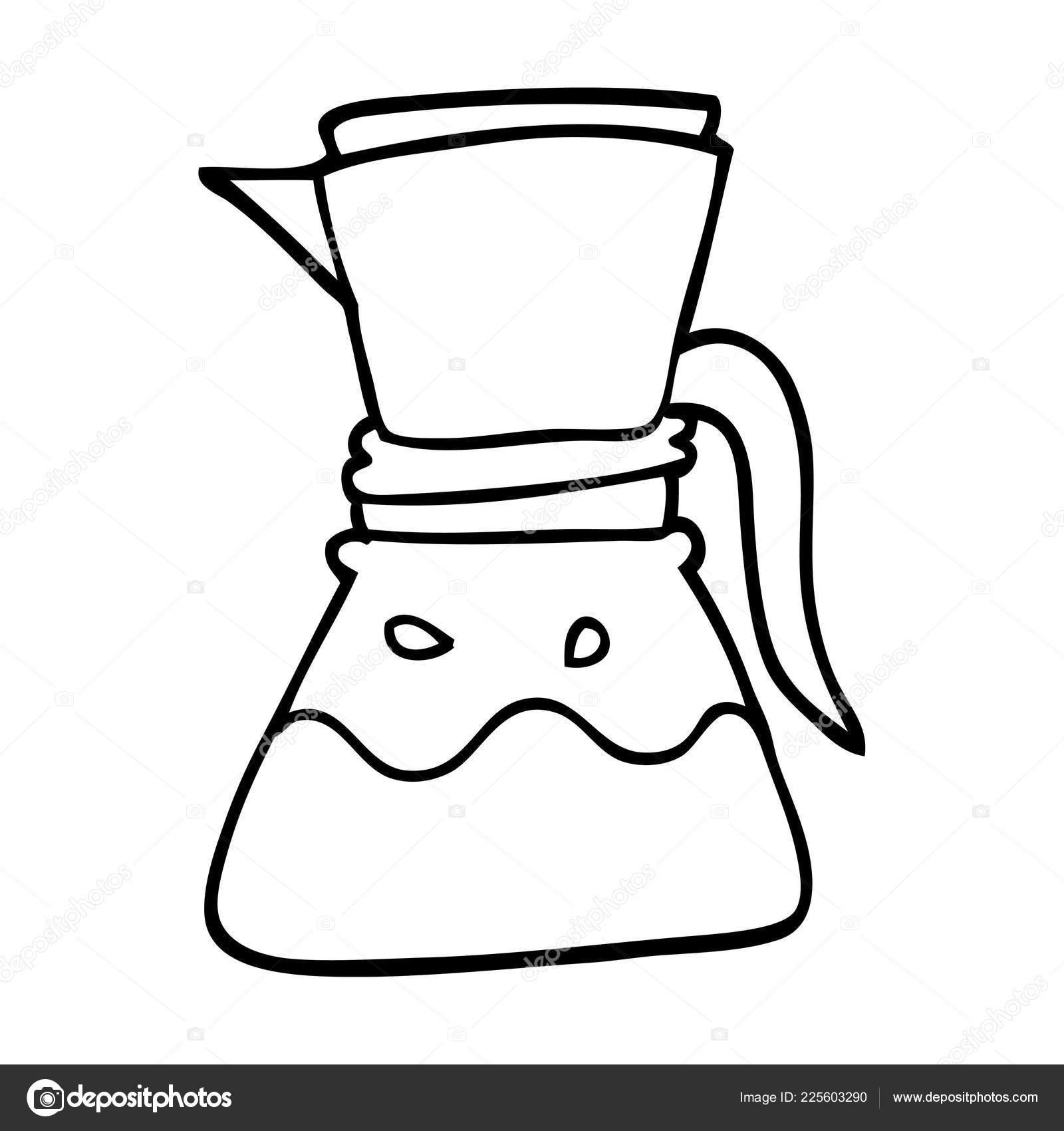 Maquina Cafe Filtro Linha Desenho Desenhos Animados Vetor De