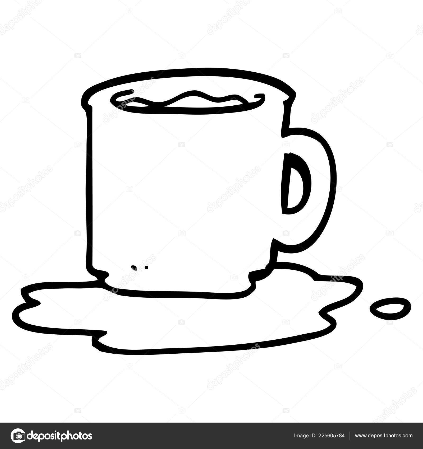 Line Drawing Cartoon Mug Coffee Stock Vector C Lineartestpilot 225605784