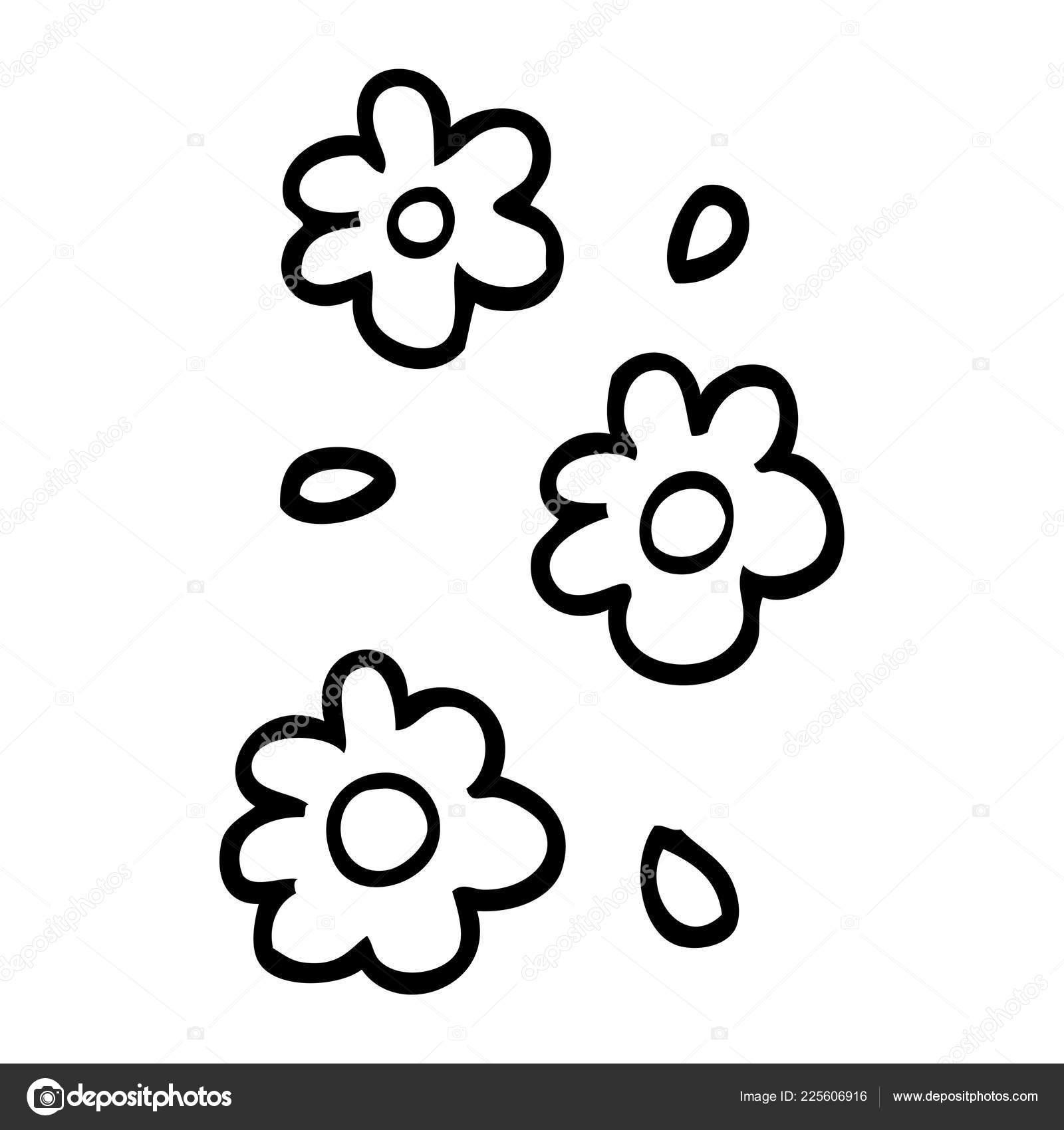 Black White Cartoon Flower Heads Stock Vector Lineartestpilot