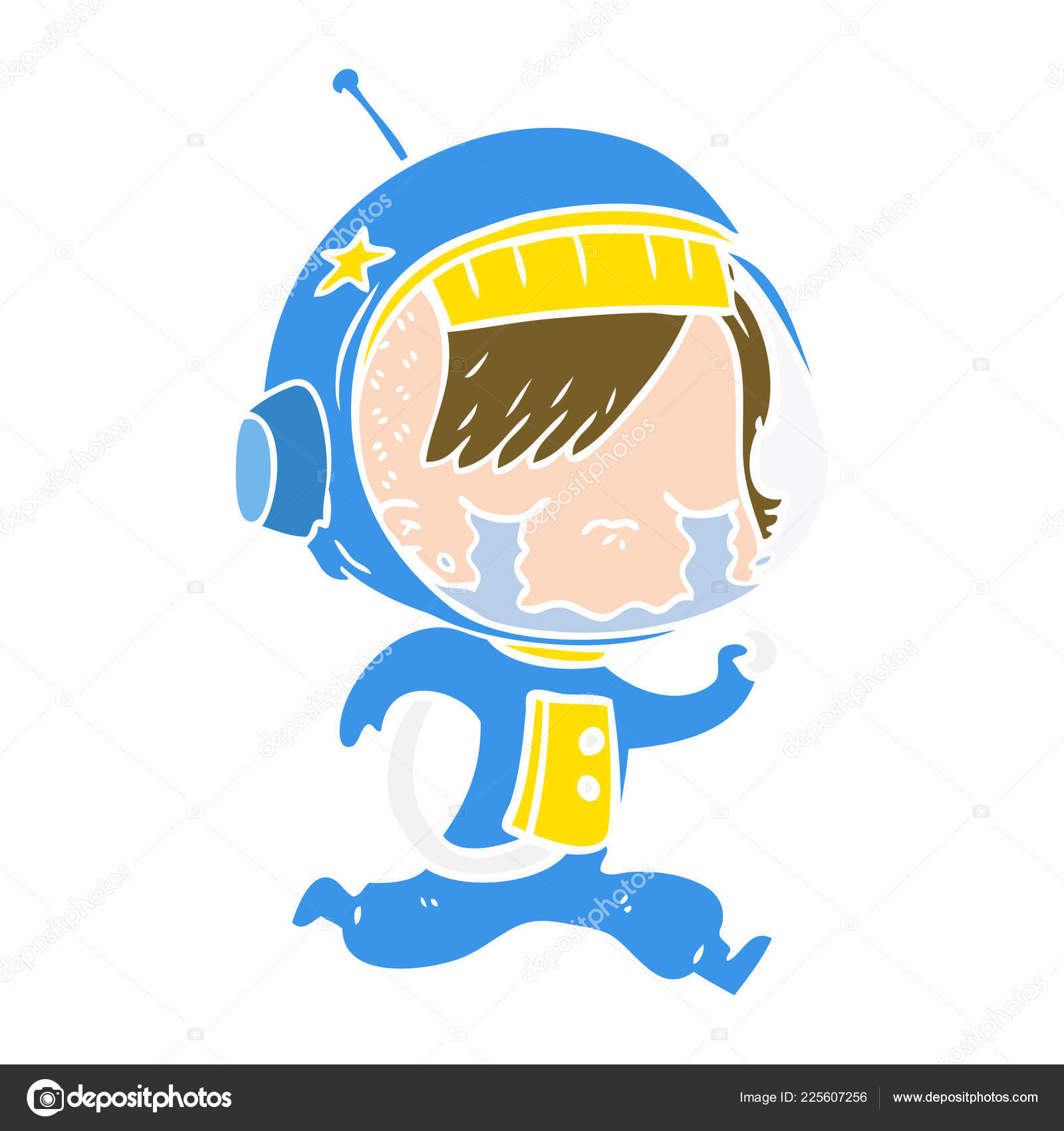 Plat Couleur Style Dessin Animé Qui Pleure Astronaute Fille