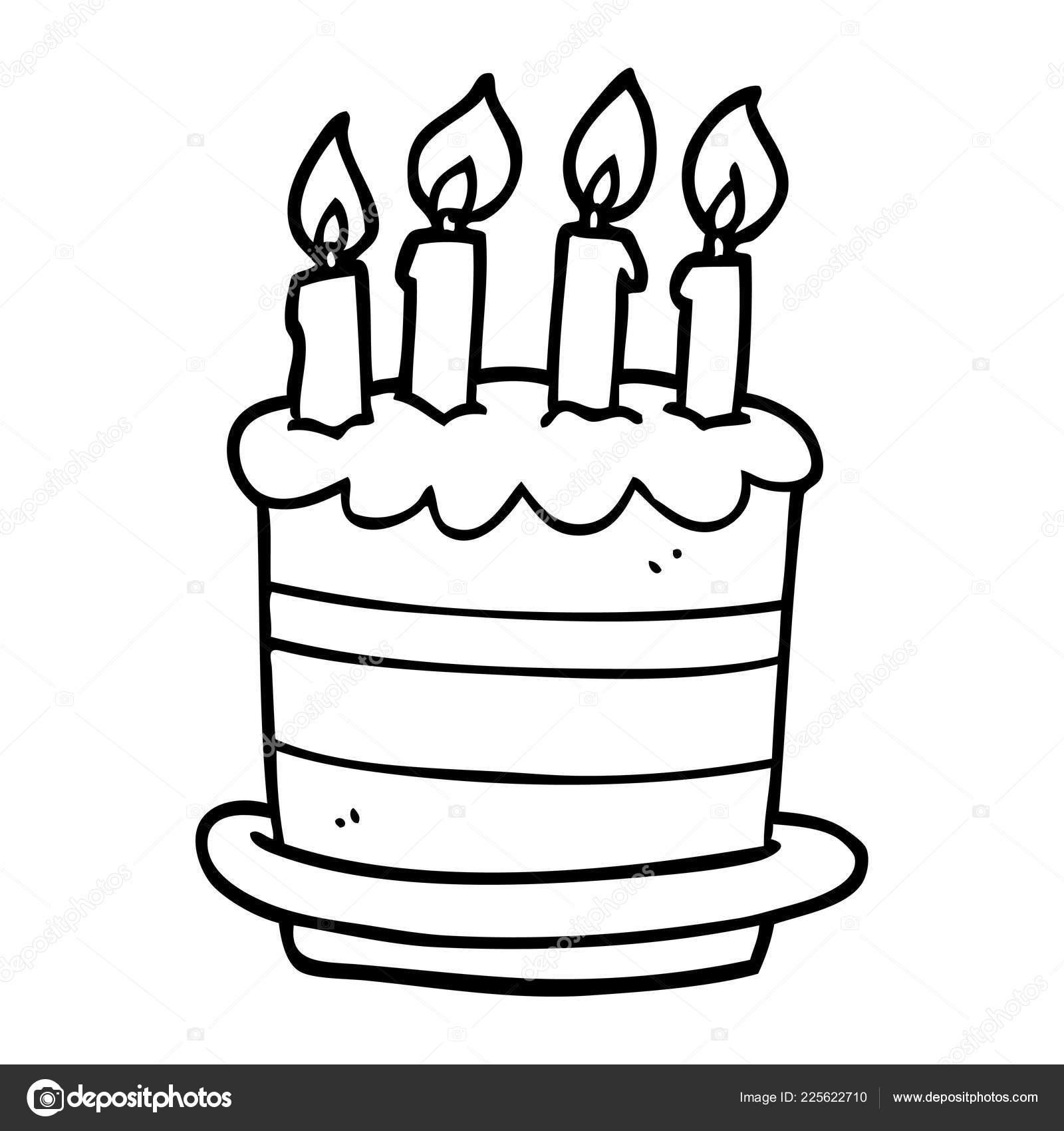 Line Drawing Cartoon Birthday Cake Stock Vector C Lineartestpilot