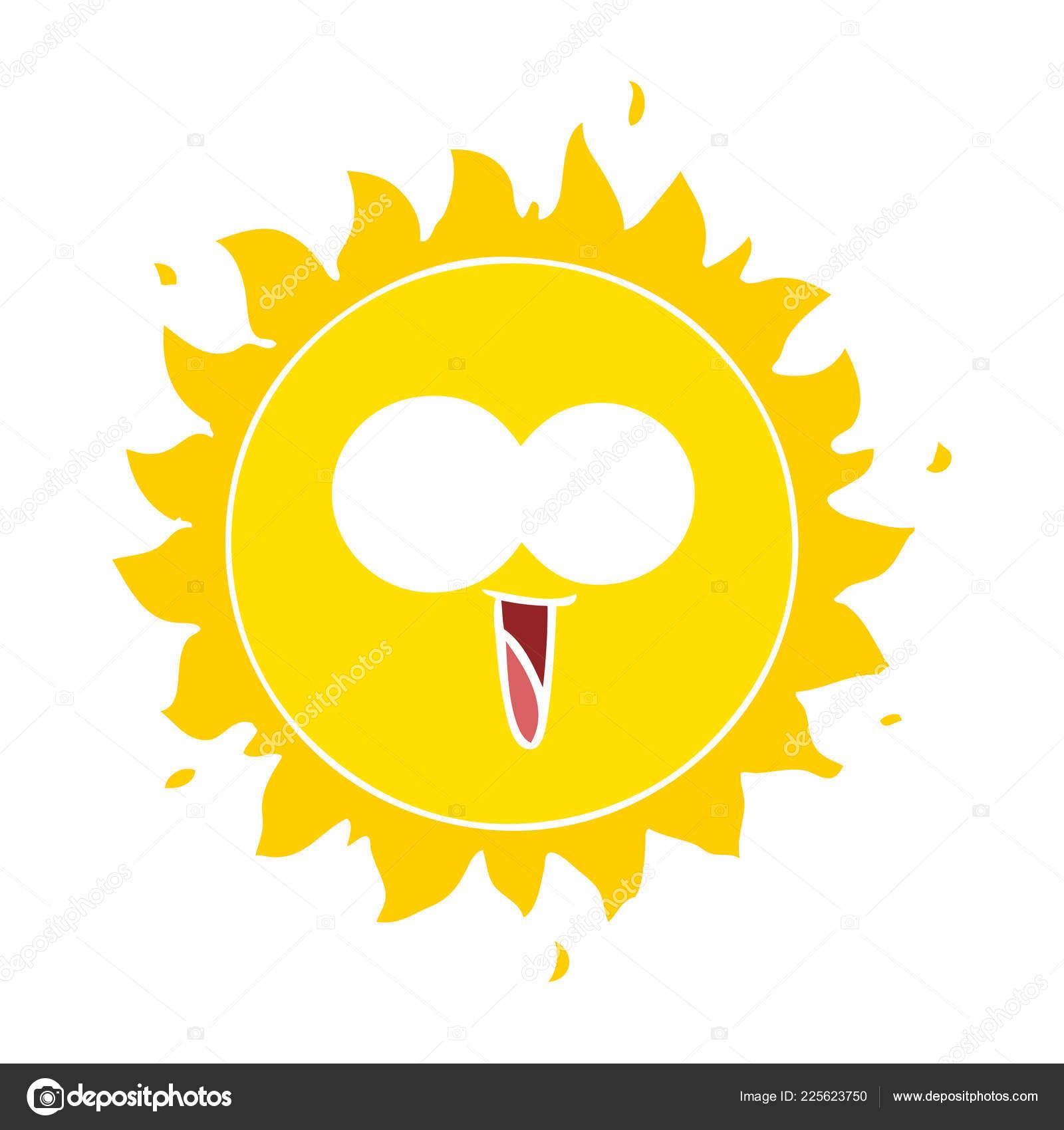 Sol Desenho Animado Estilo Cor Plana Feliz Vetores De Stock