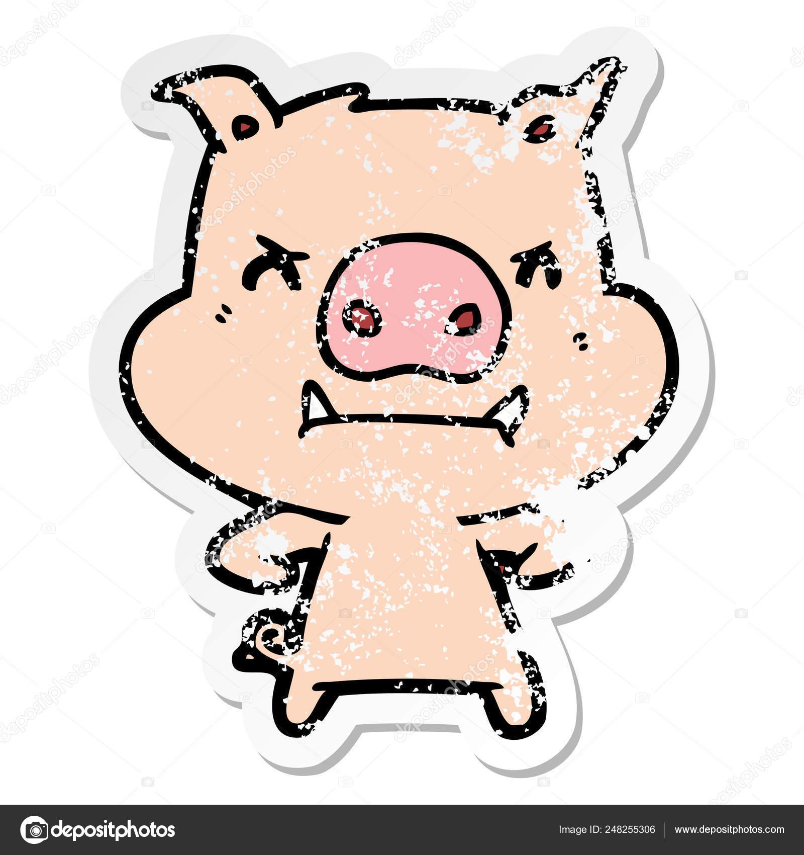 Autocollant Affligée D Un Cochon Dessin Animé En Colère