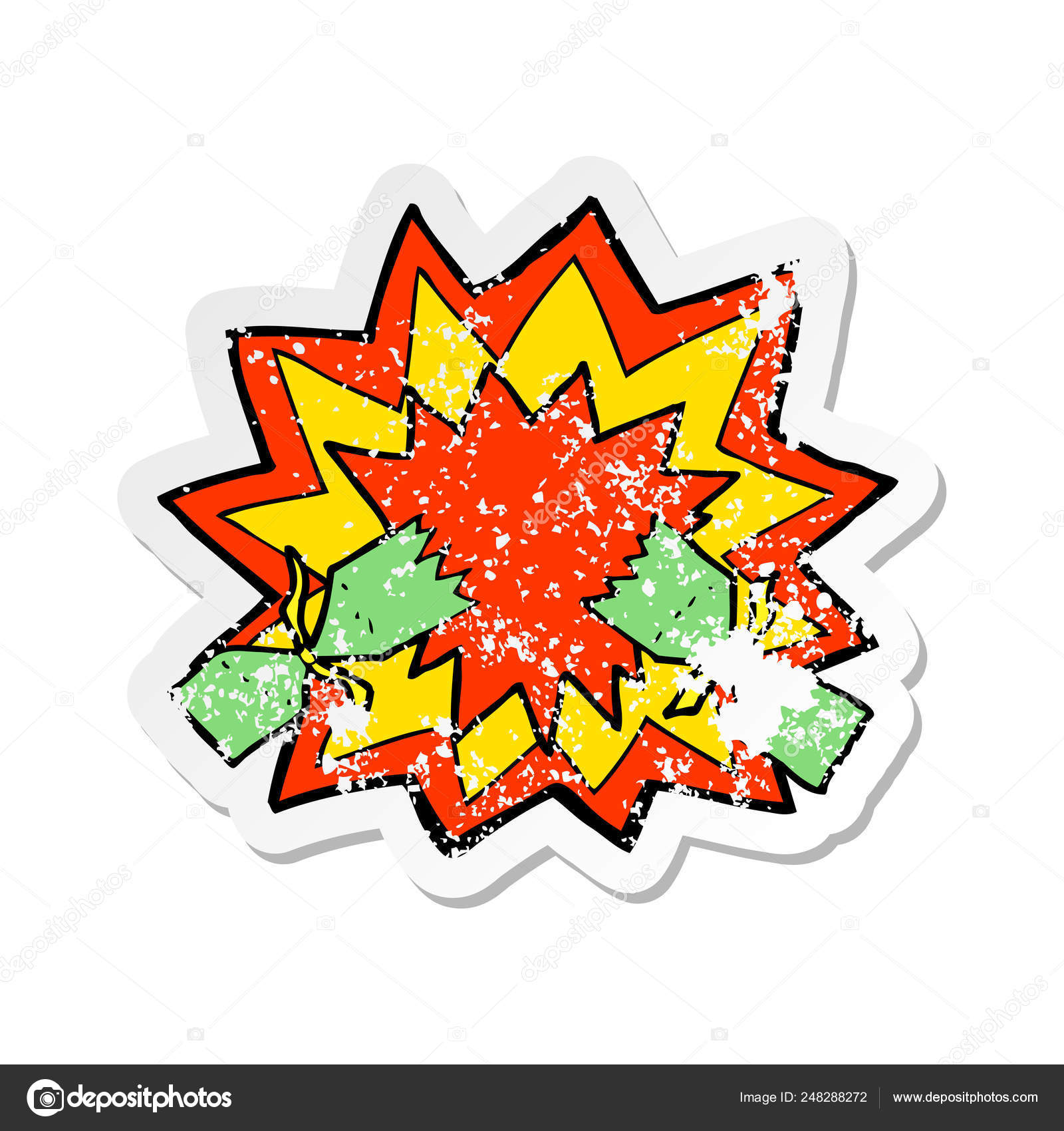 Christmas Cracker Vector.Retro Distressed Sticker Of A Cartoon Christmas Cracker