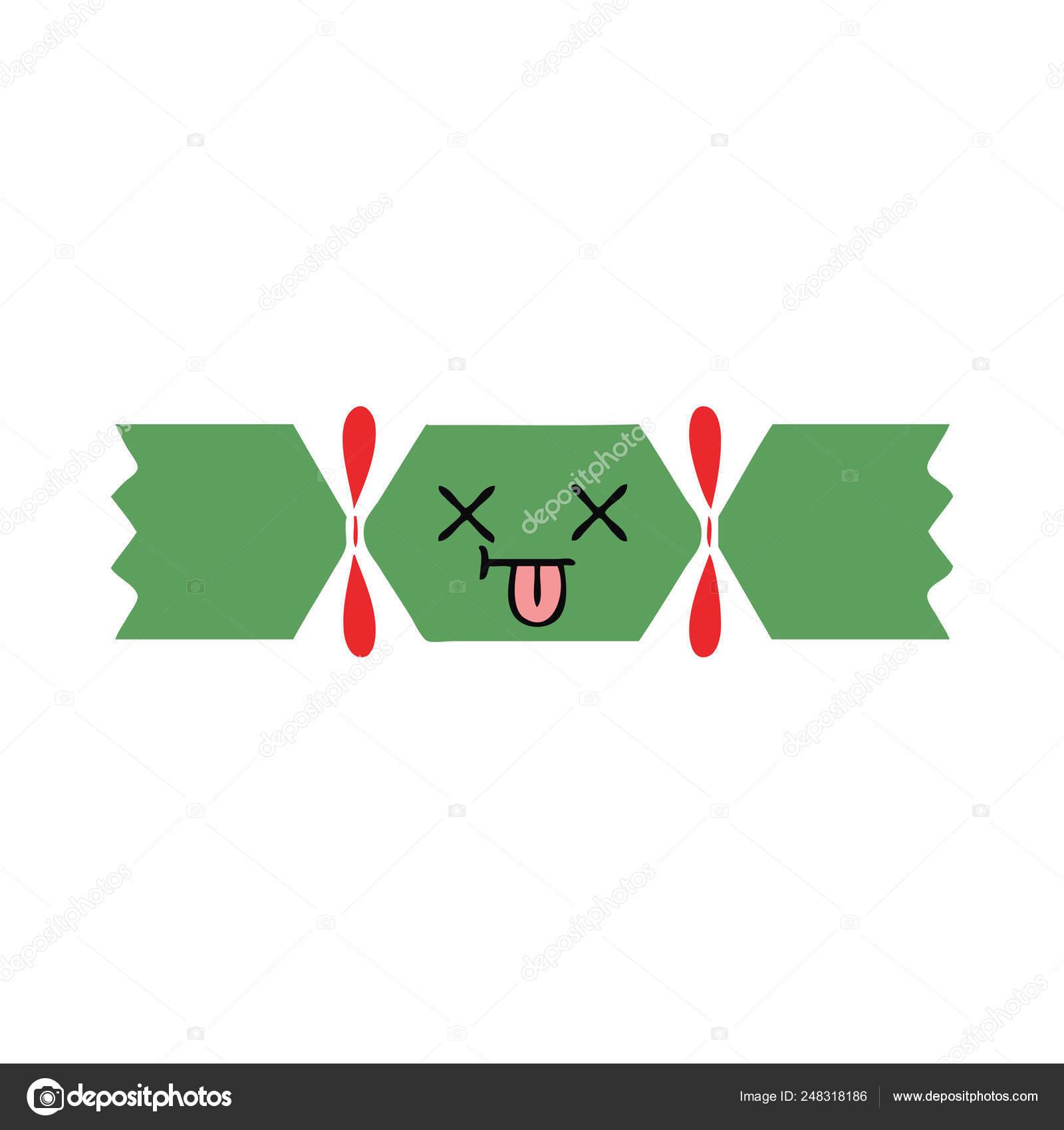 Christmas Cracker Vector.Flat Color Retro Cartoon Christmas Cracker Stock Vector