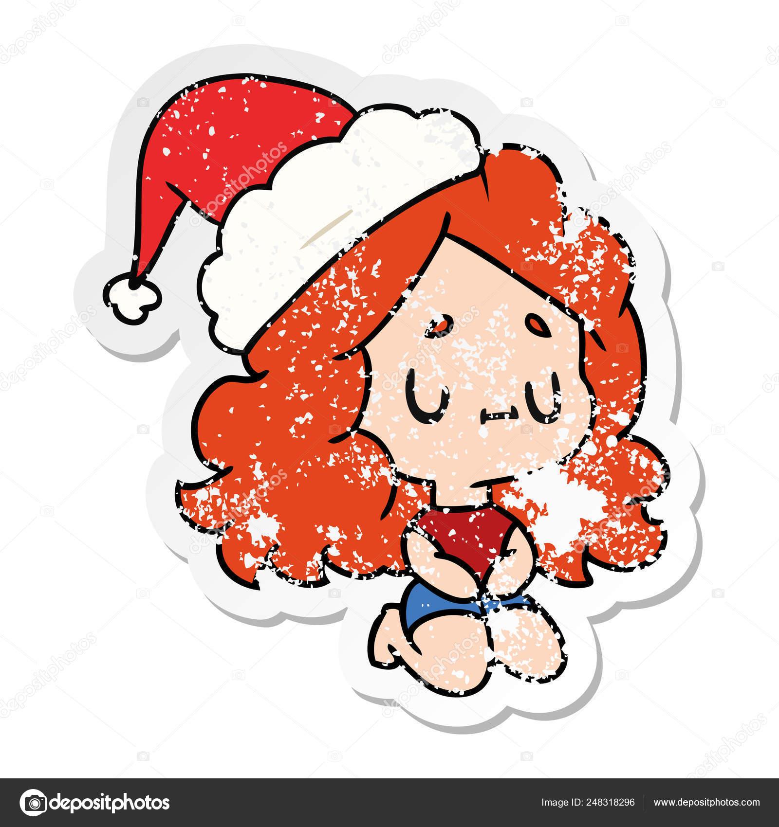 Noël En Détresse Autocollant Dessin Animé De Fille Kawaii