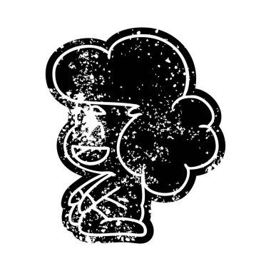 grunge icon of a kawaii alien girl