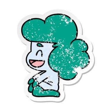 distressed sticker cartoon of a kawaii alien girl