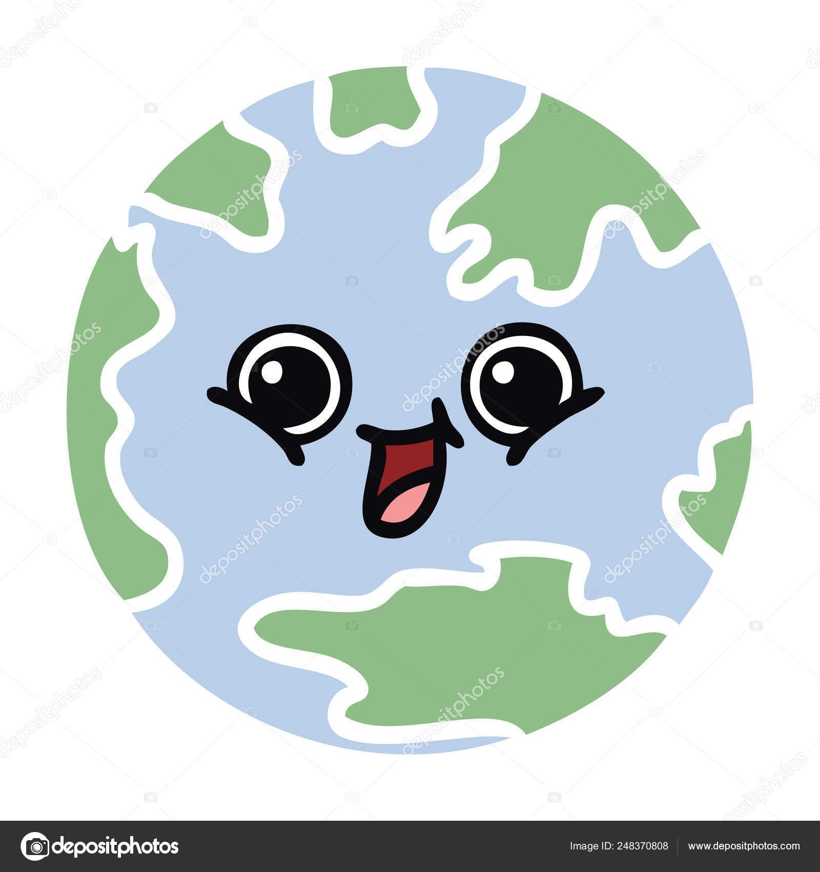 Flat Color Retro Cartoon Planet Earth Stock Vector