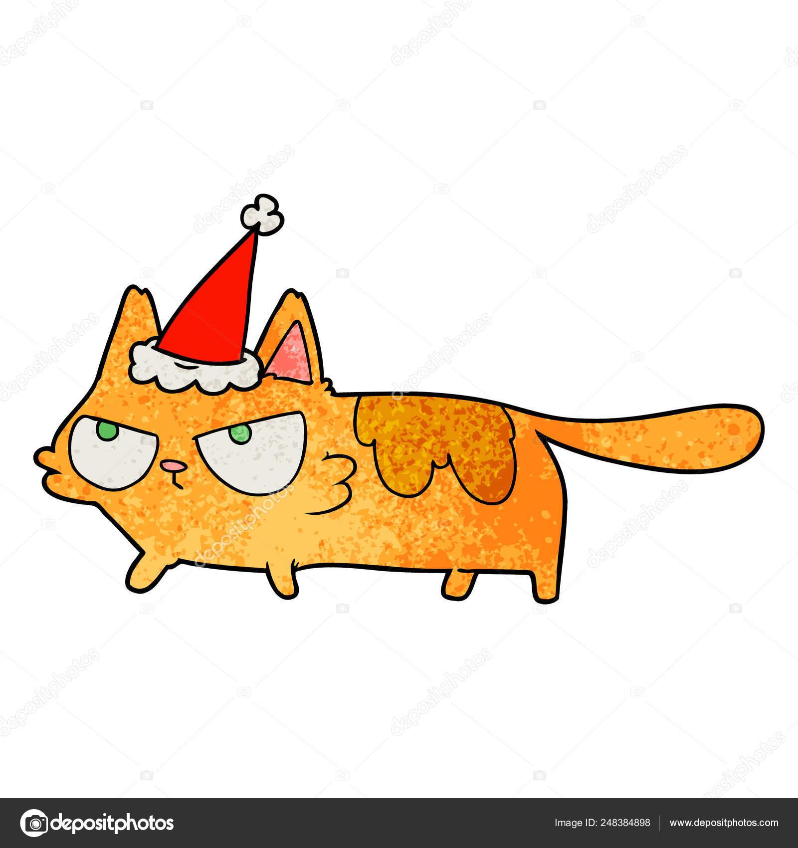 Mao Desenhada Texturizado Desenho Animado Gato Bravo Com Chapeu