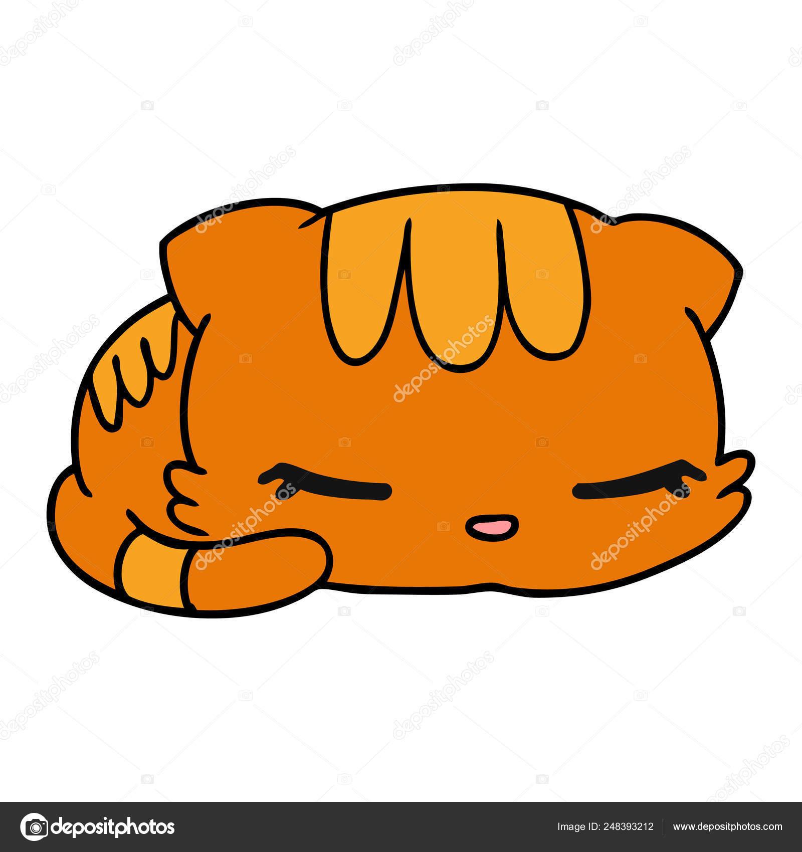 Cartoon Illustration Kawaii Cute Sleeping Kitten Stock Vector