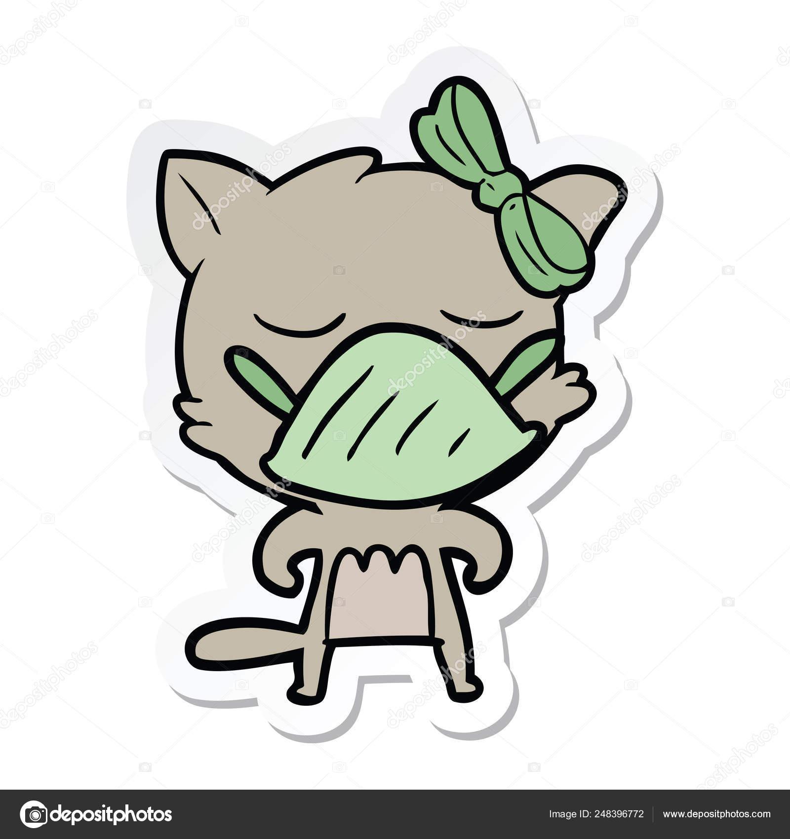 Cartoon Germ Stickers Sticker Of A Cartoon Cat Wearing Germ Mask