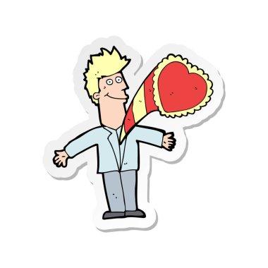 sticker of a cartoon man with love heart