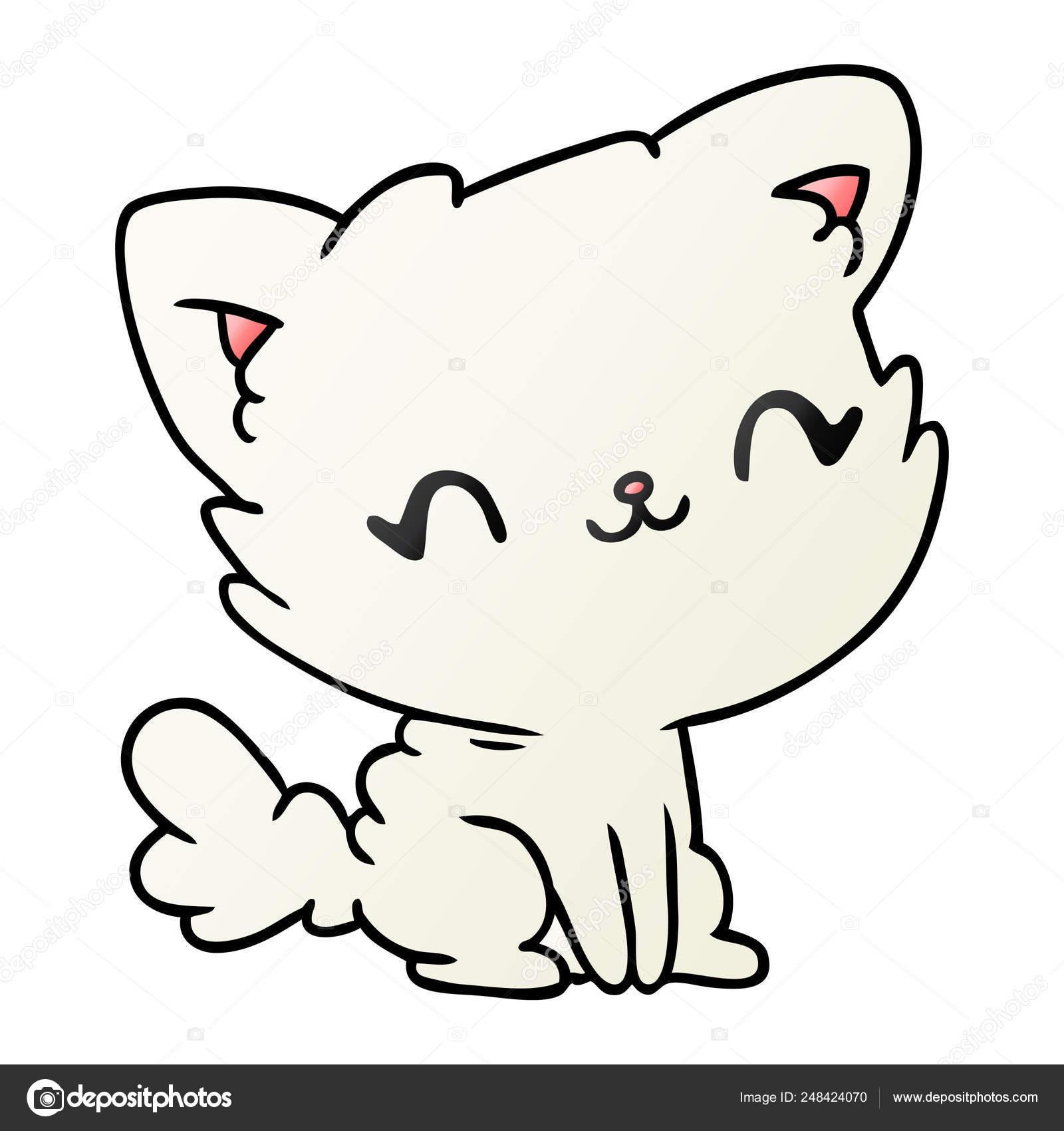 Gradient Cartoon Cute Kawaii Fluffy Cat Stock Vector